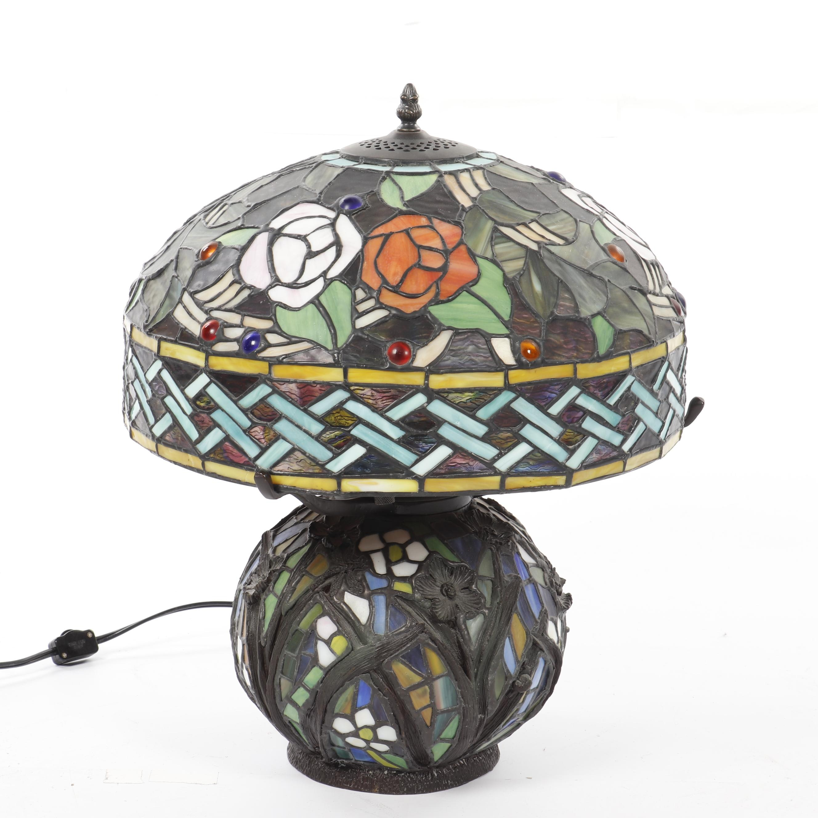 Floral Motif Stained and Slag Glass Lamp