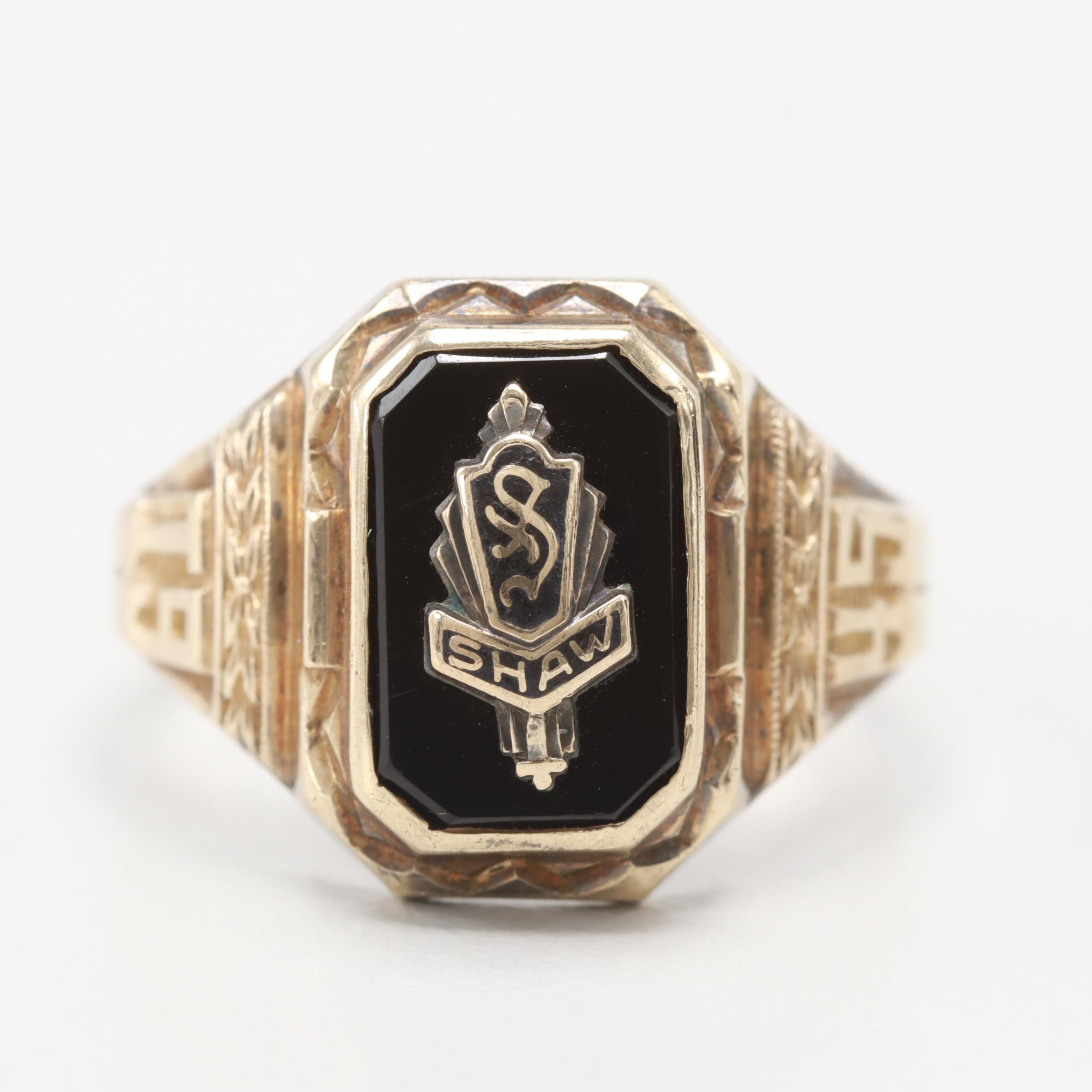 10K Yellow Gold Black and Enamel Onyx Ring