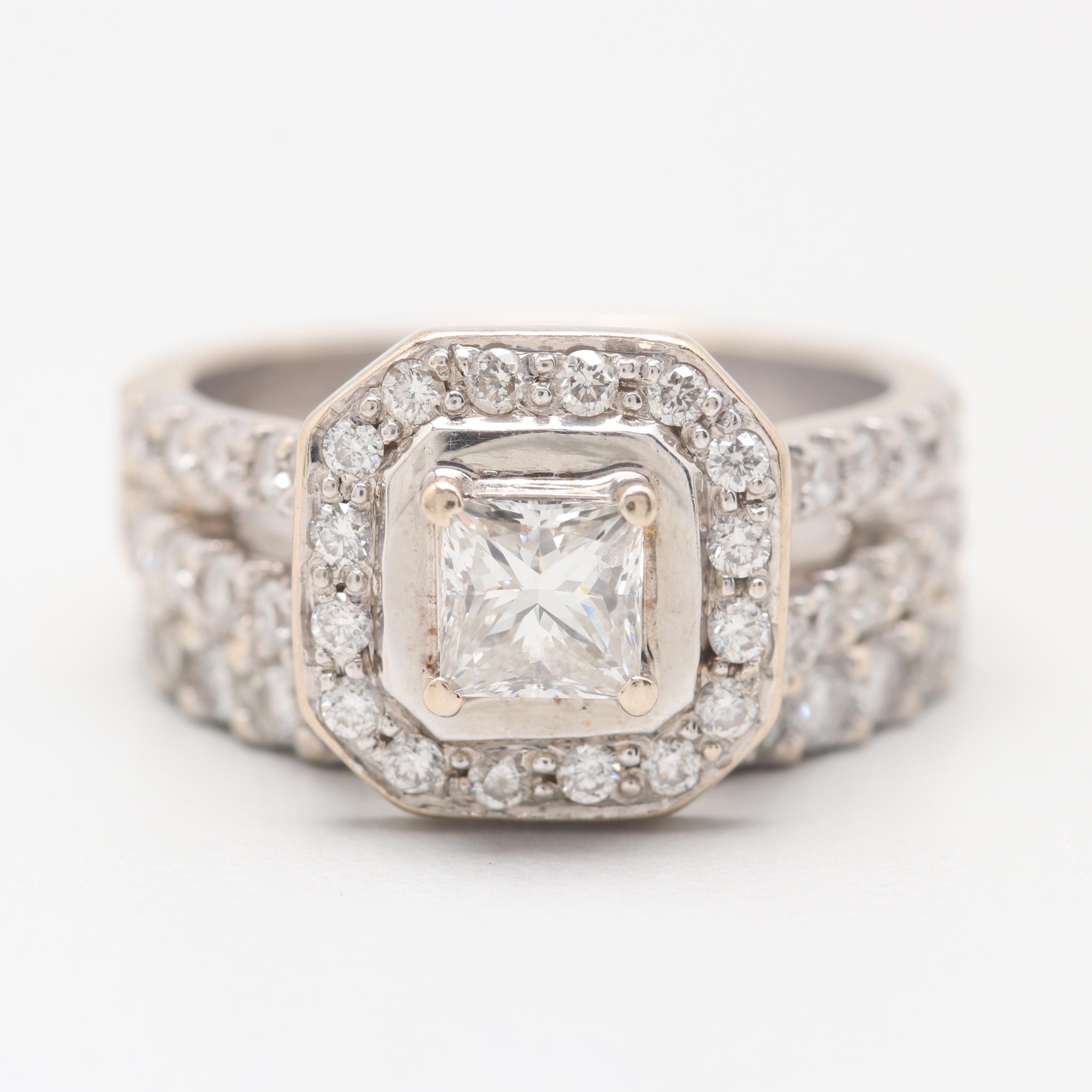 18K White Gold 1.46 CTW Diamond Ring Set