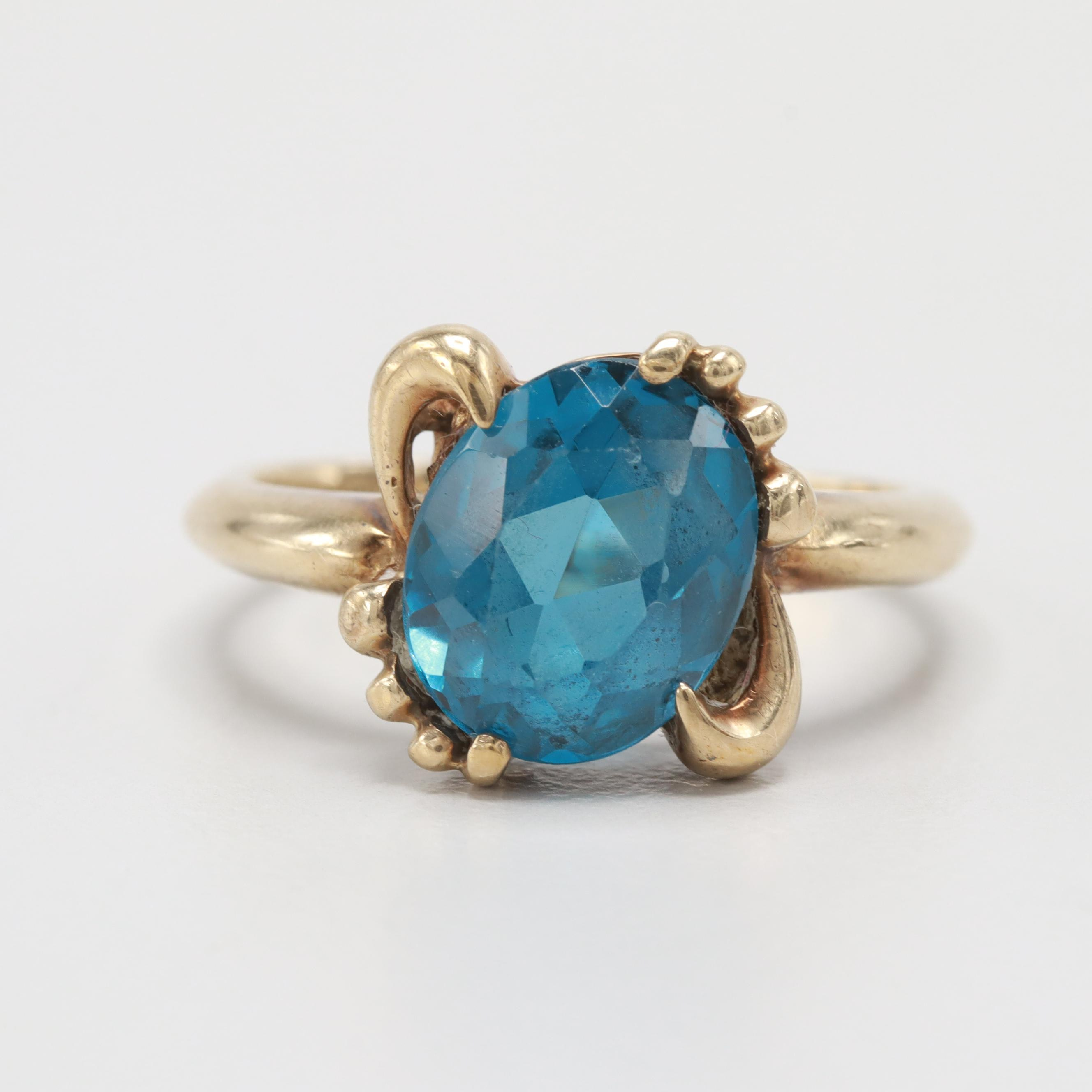10K Yellow Gold Synthetic Spinel Ring
