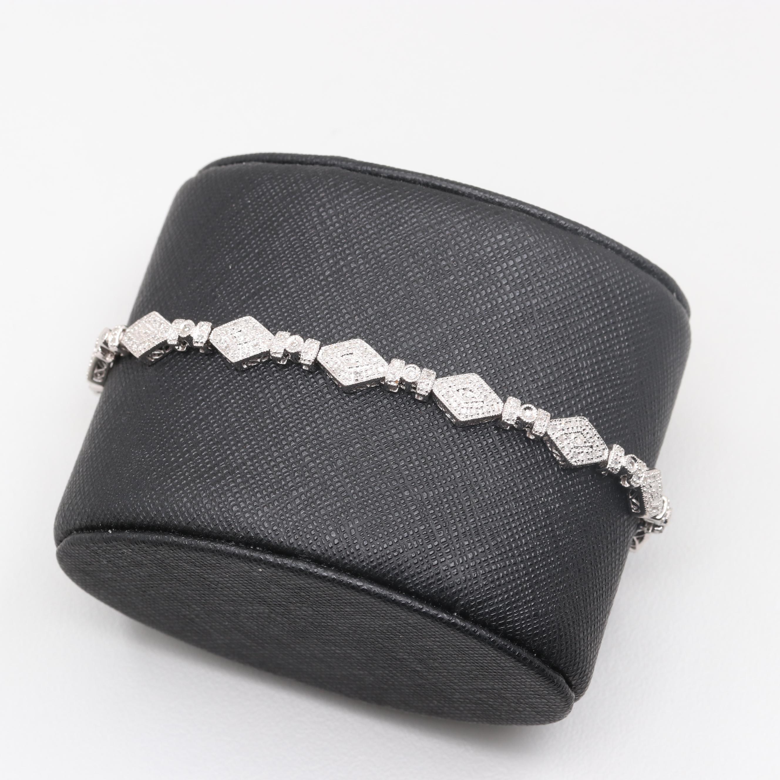 14K White Gold 1.24 CTW Diamond Bracelet