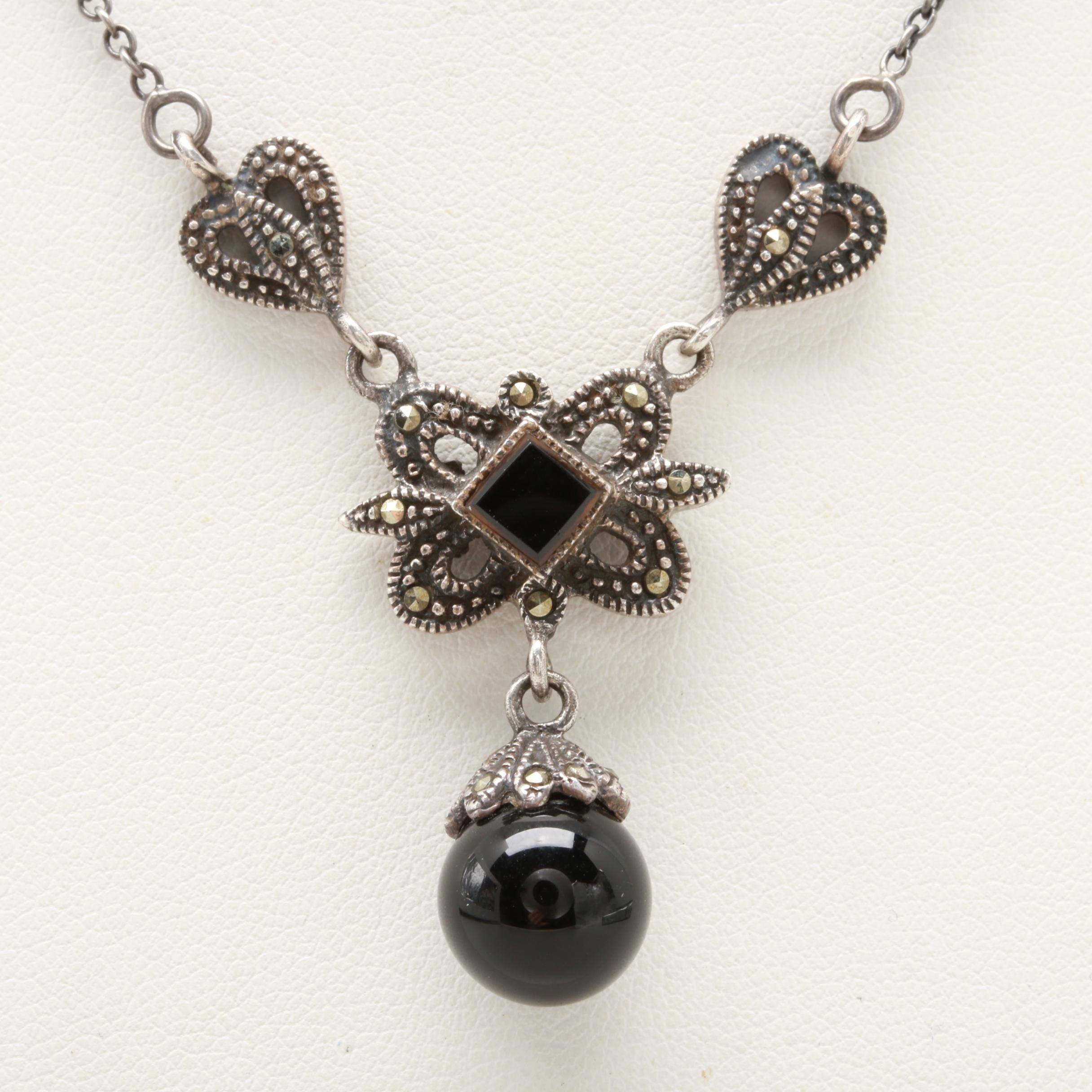 Sterling Silver Onyx and Marcasite Necklace