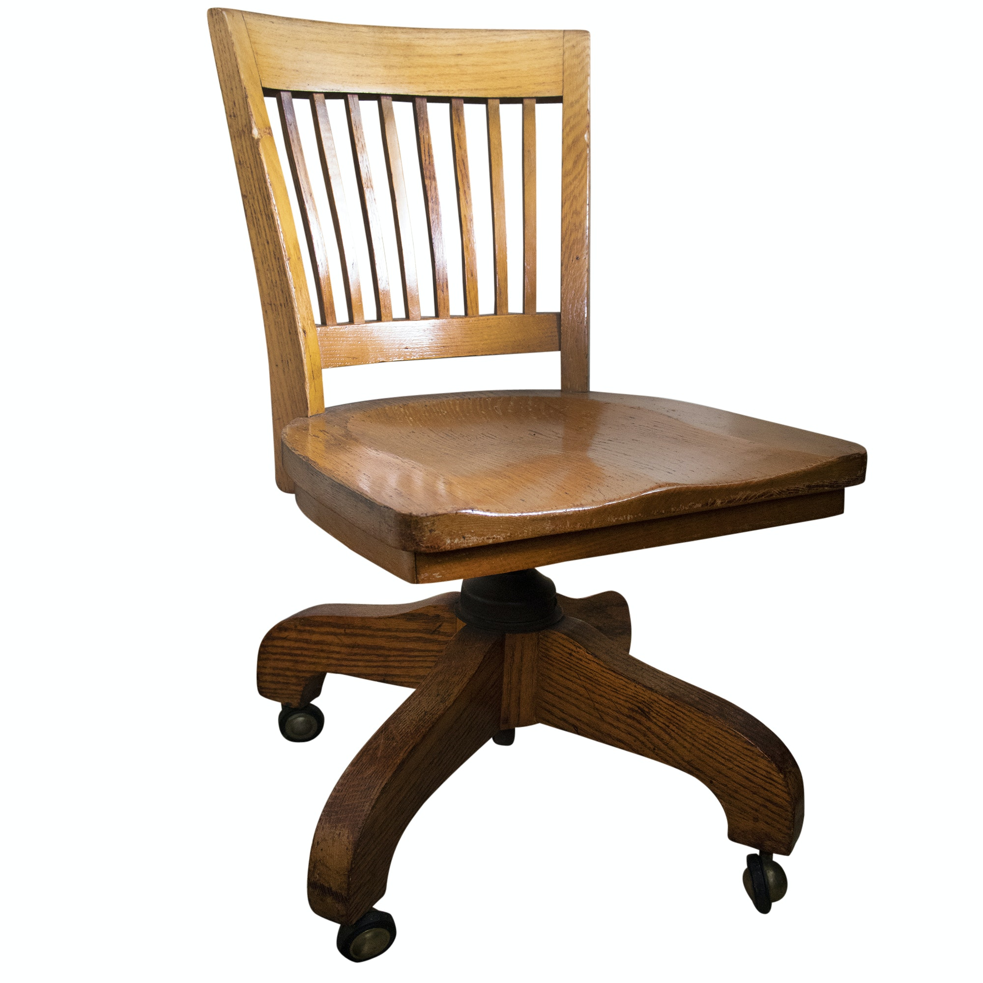 Oak Office Chair on Casters, Mid/Late 20th Century