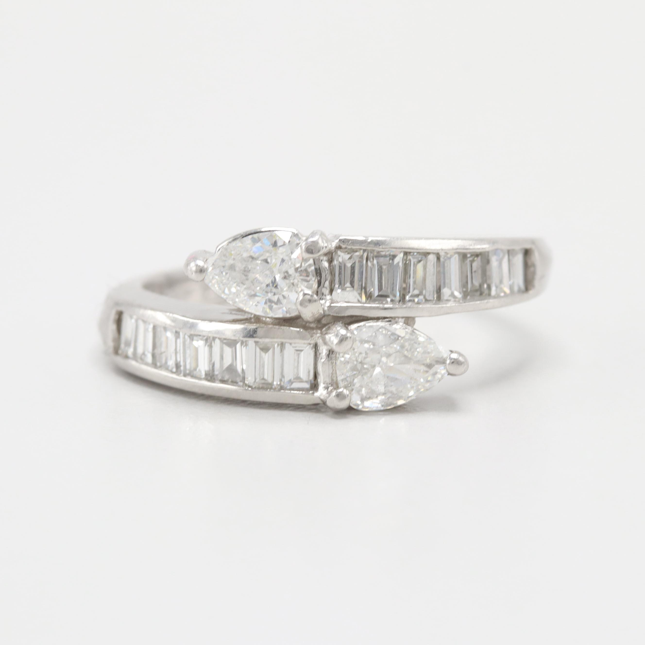 Platinum 1.06 CTW Diamond By-Pass Ring