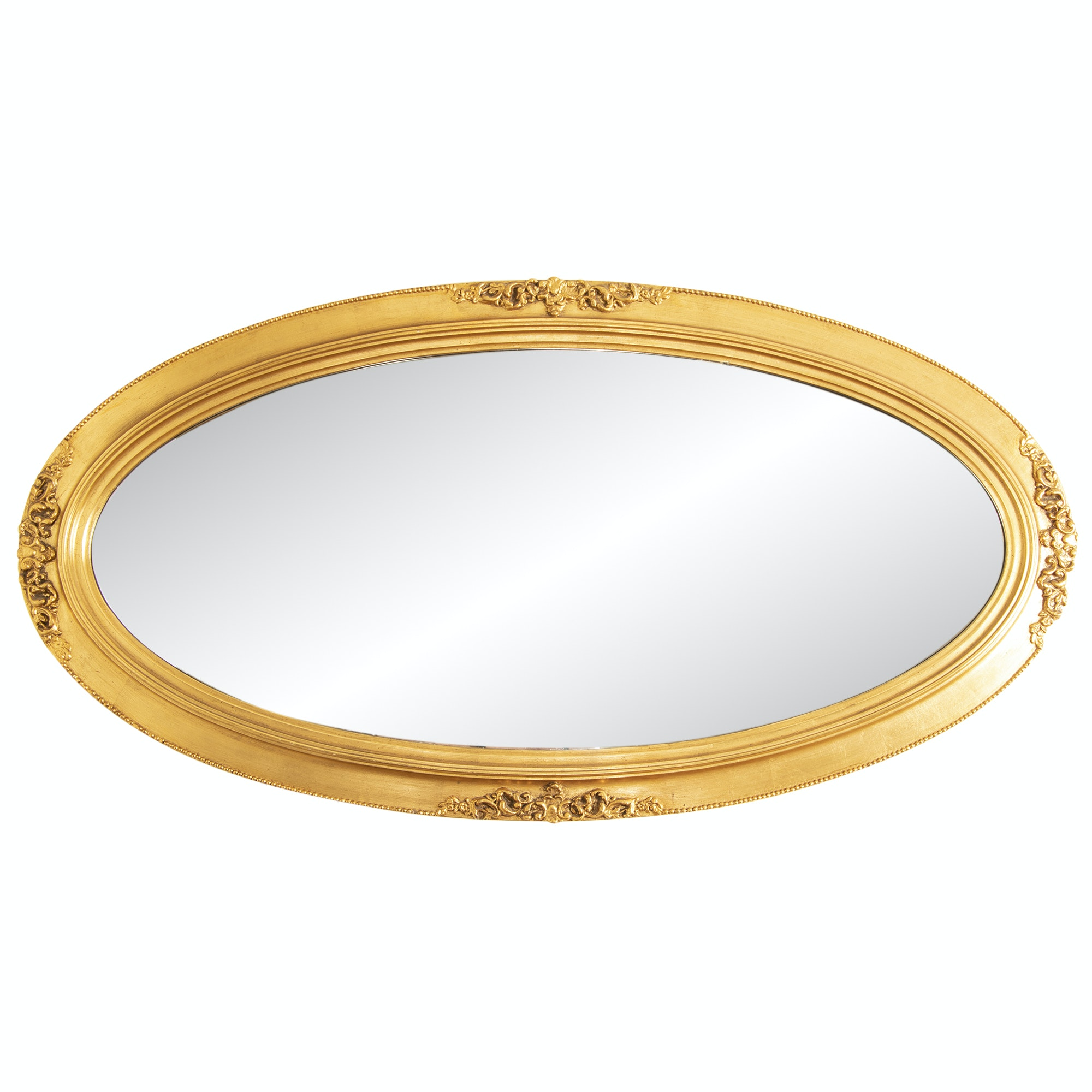 Oval Gold-Toned Wooden Wall Mirror with Beaded Trim, Mid-Century