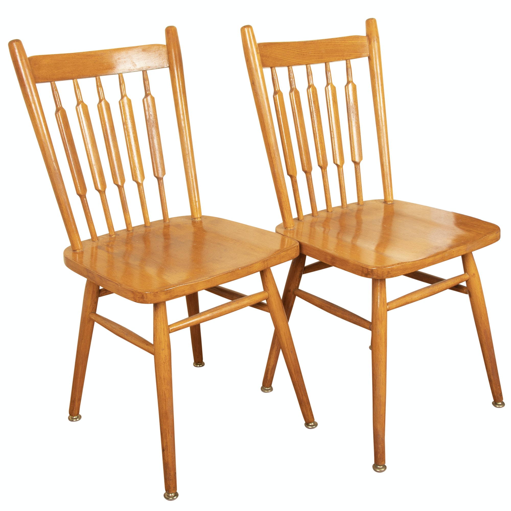 Maple Finish Arrow Back Side Chairs, Mid/Late 20th Century