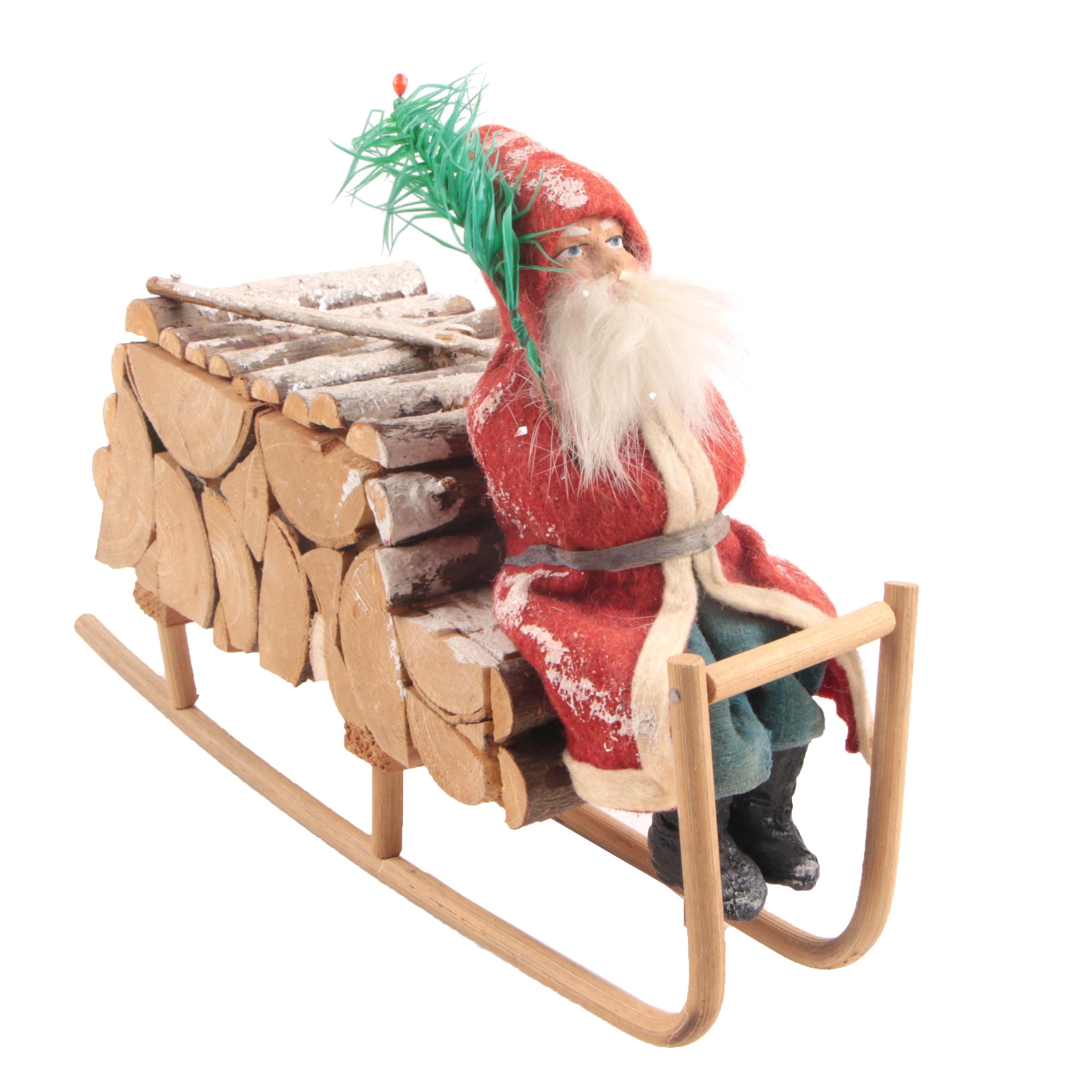 Antique Belsnickle And Log Sleigh Candy Container