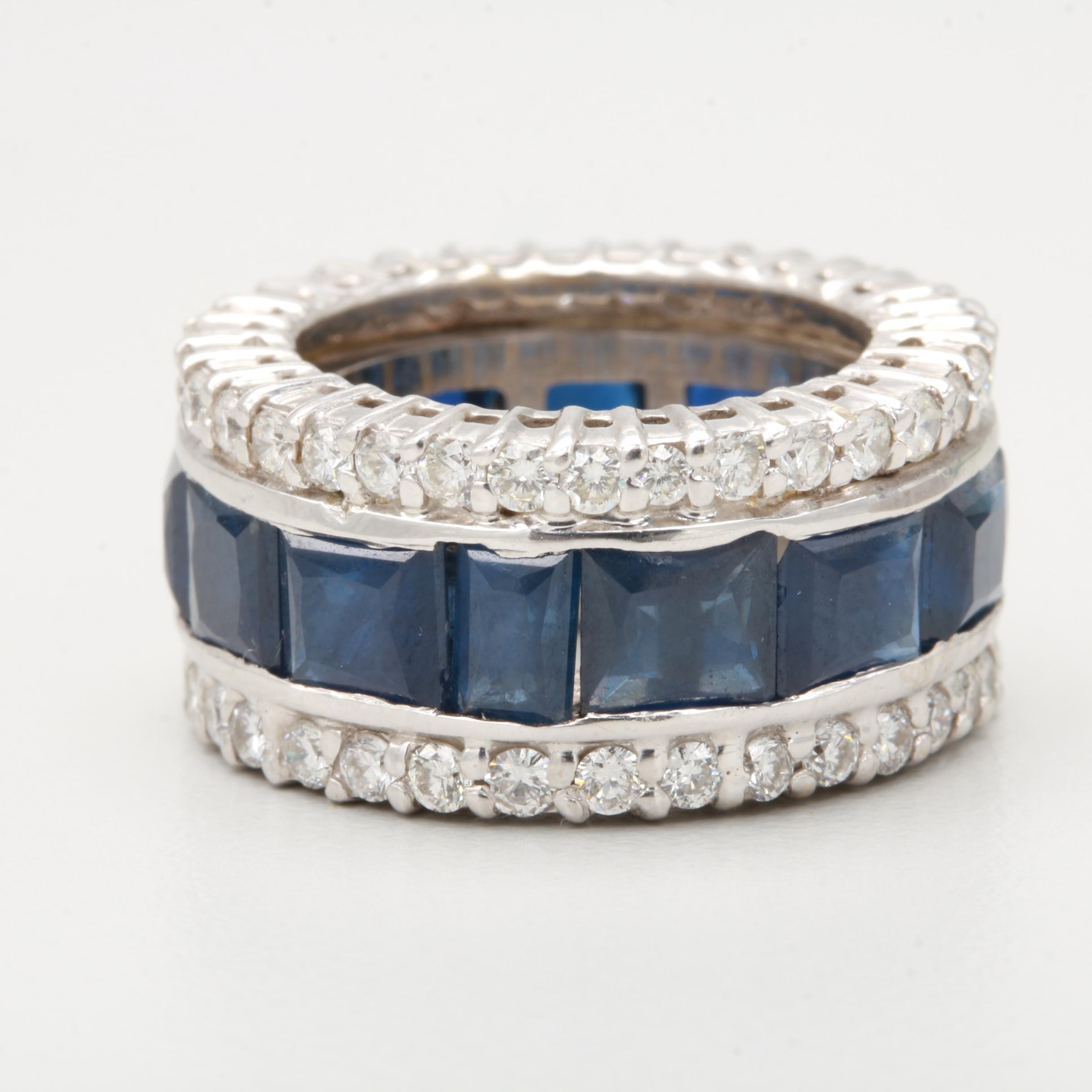 14K White Gold Blue Sapphire and 1.81 CTW Diamond Ring