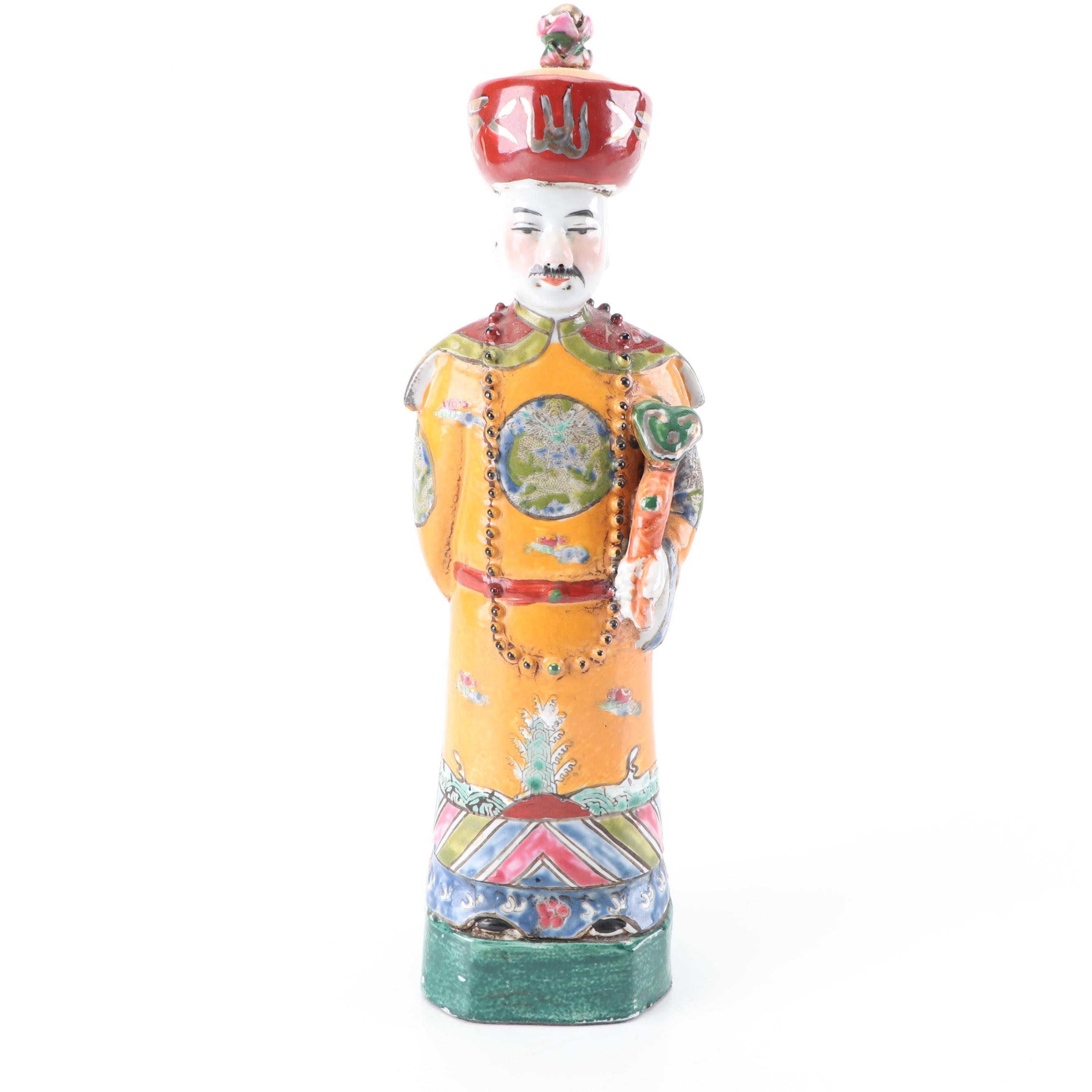 Chinese Ceramic Emperor Figurine