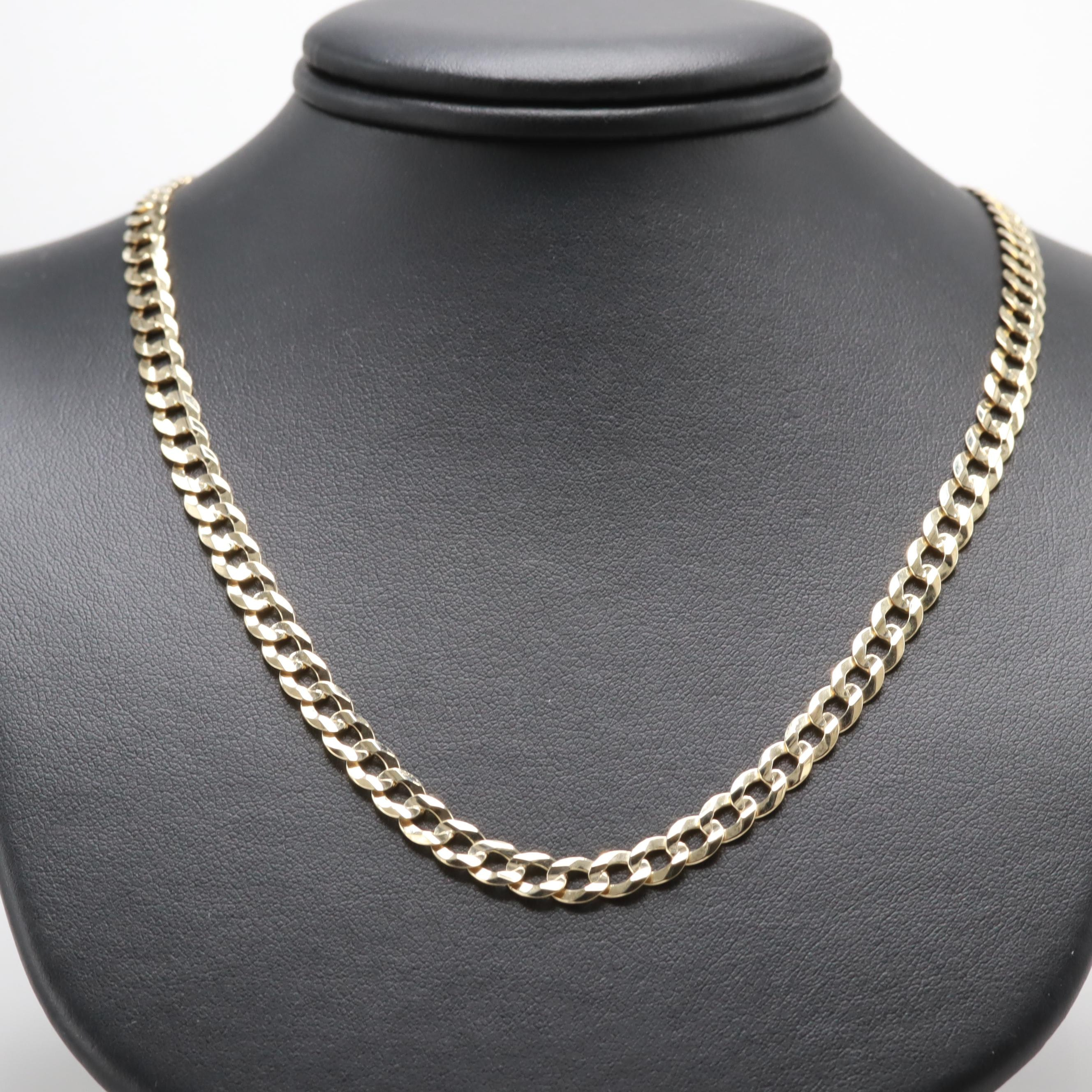 14K Yellow Gold Curb Chain Link Necklace