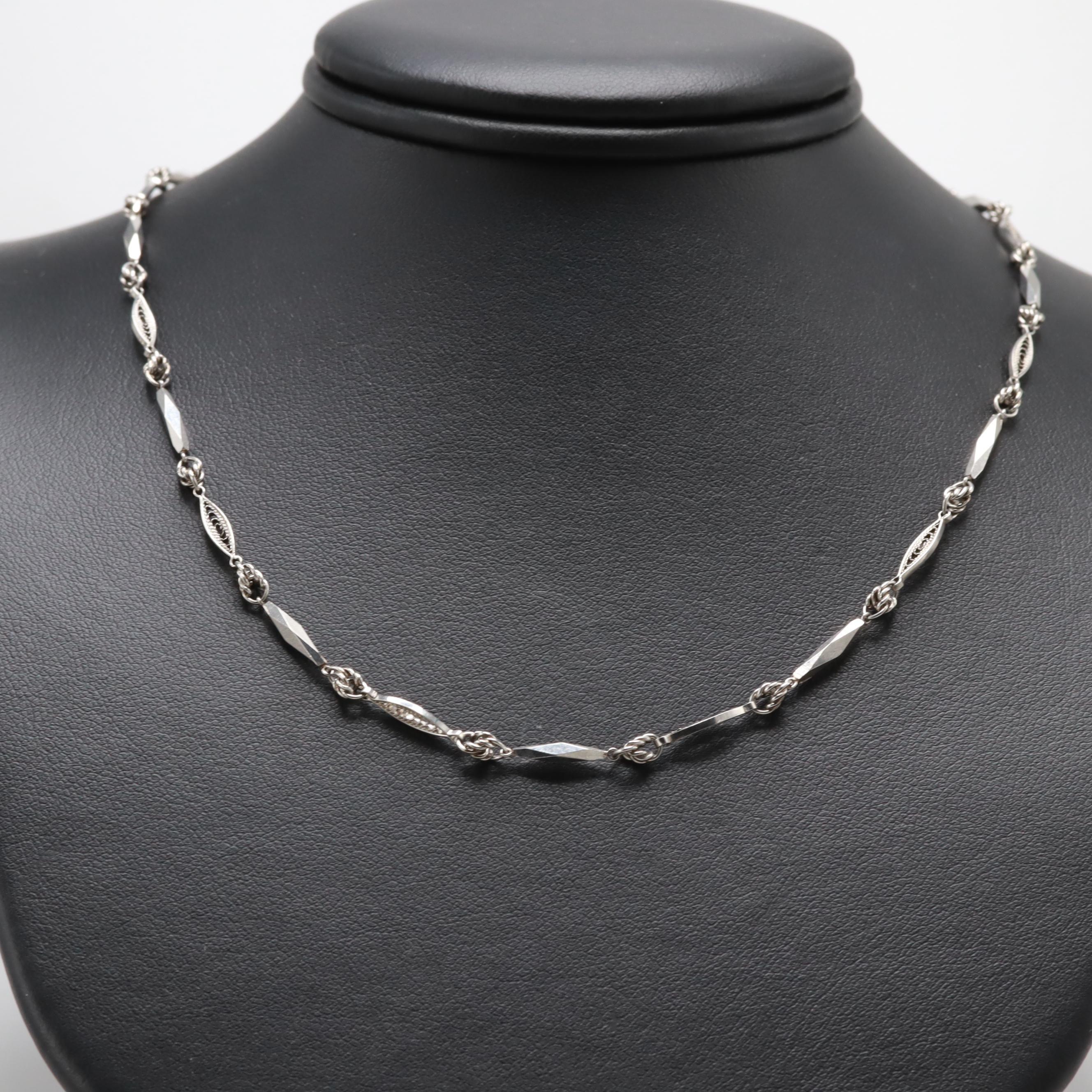 Platinum Fancy Chain Link Necklace