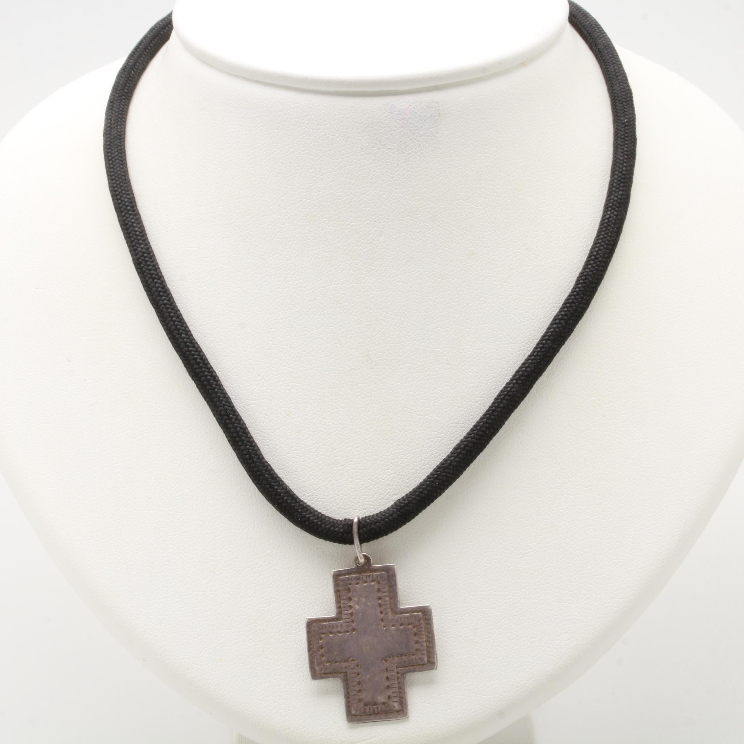 Sterling Silver Cord Cross Necklace