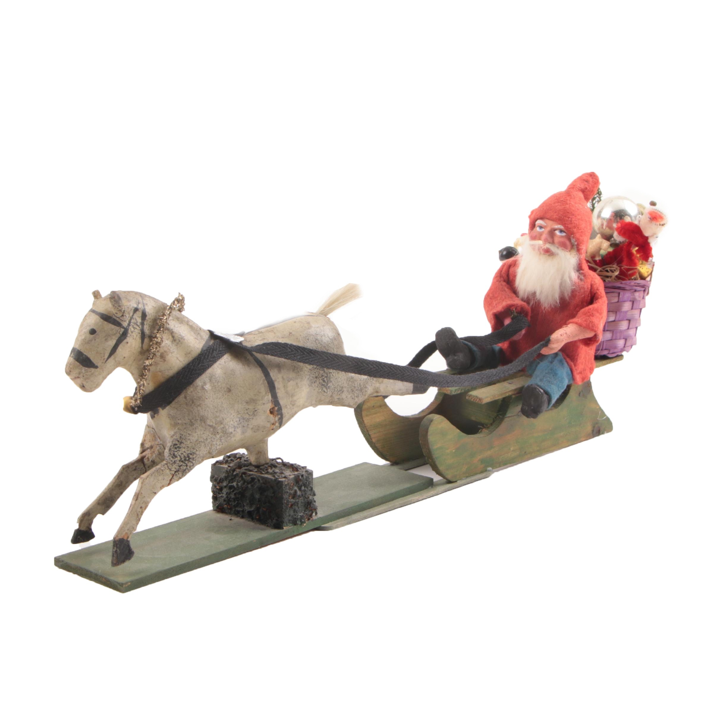 Antique German Christmas Belsnickle on Horse Drawn Sleigh