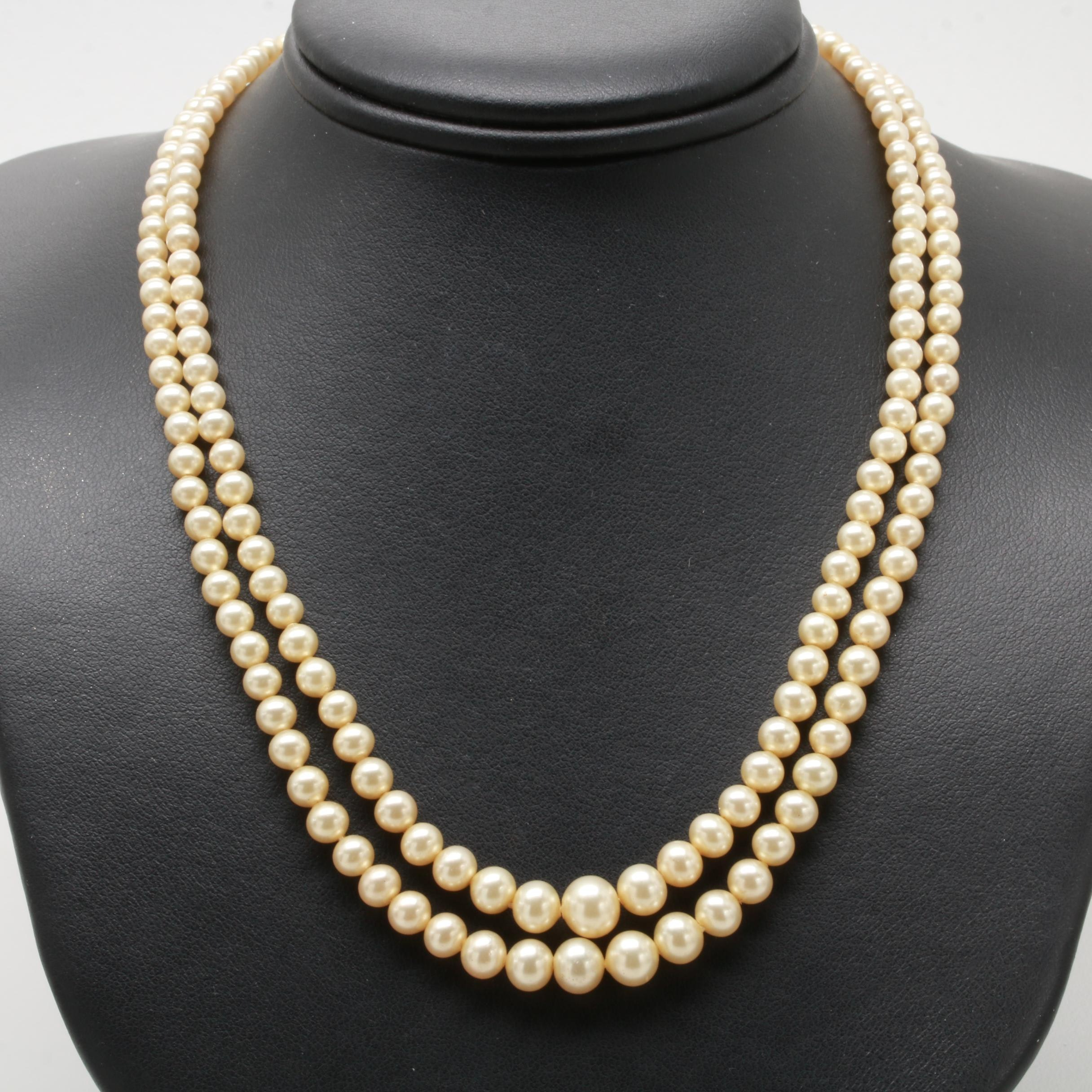Sterling Silver Double Strand Imitation Pearl Necklace