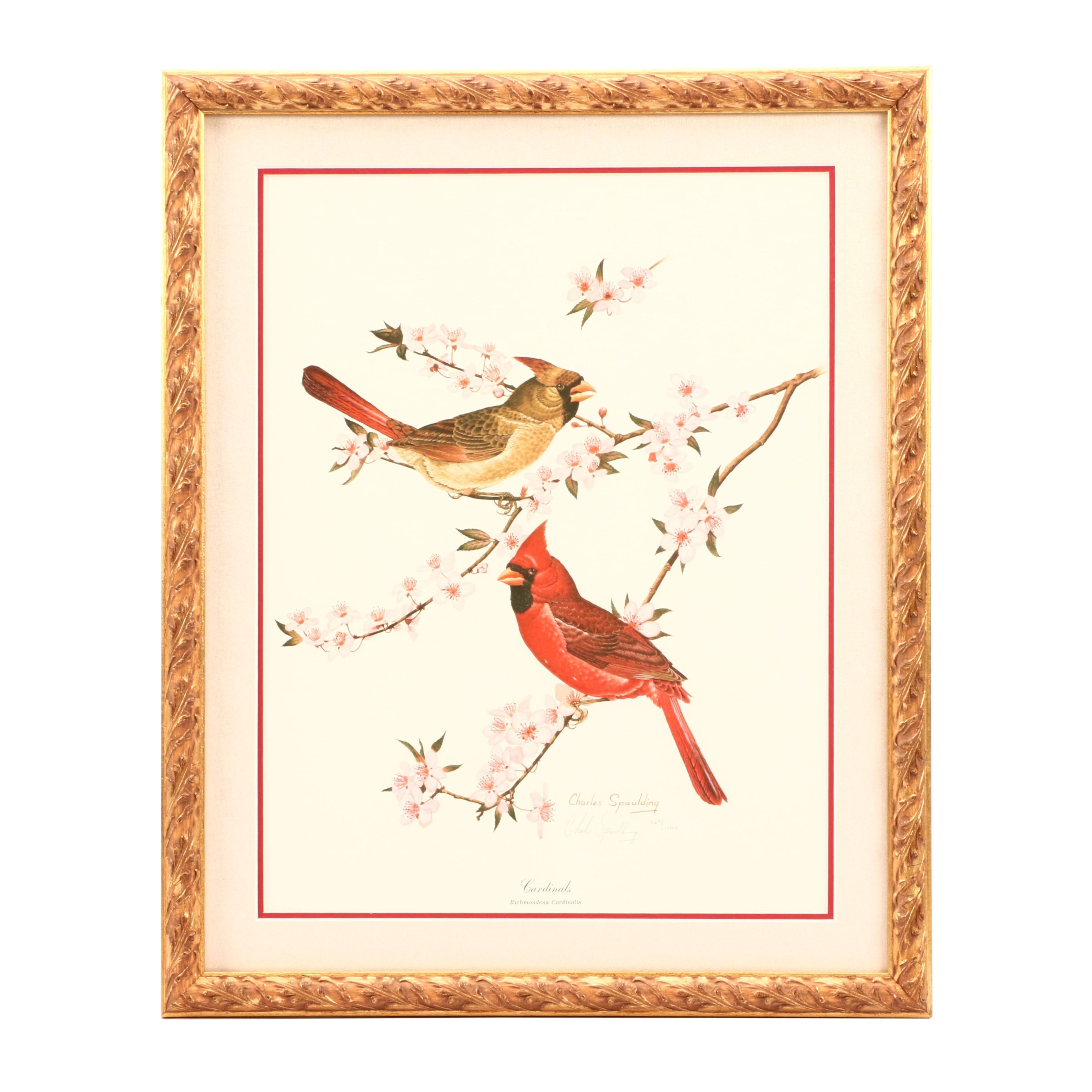 "Charles Spaulding Limited Edition Offset Lithograph ""Cardinals"""