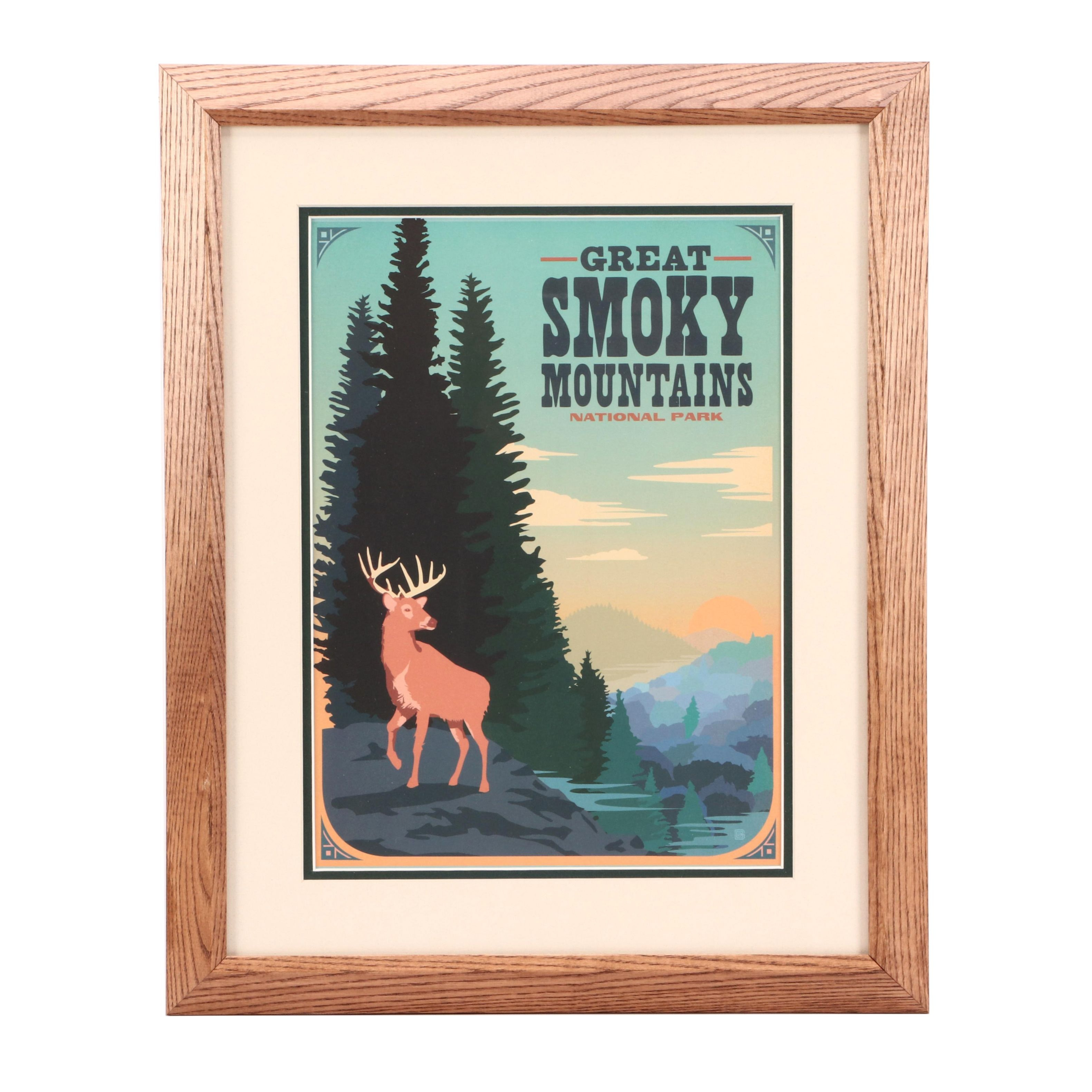 Vintage-Style Offset Lithograph Great Smoky Mountains Travel Poster
