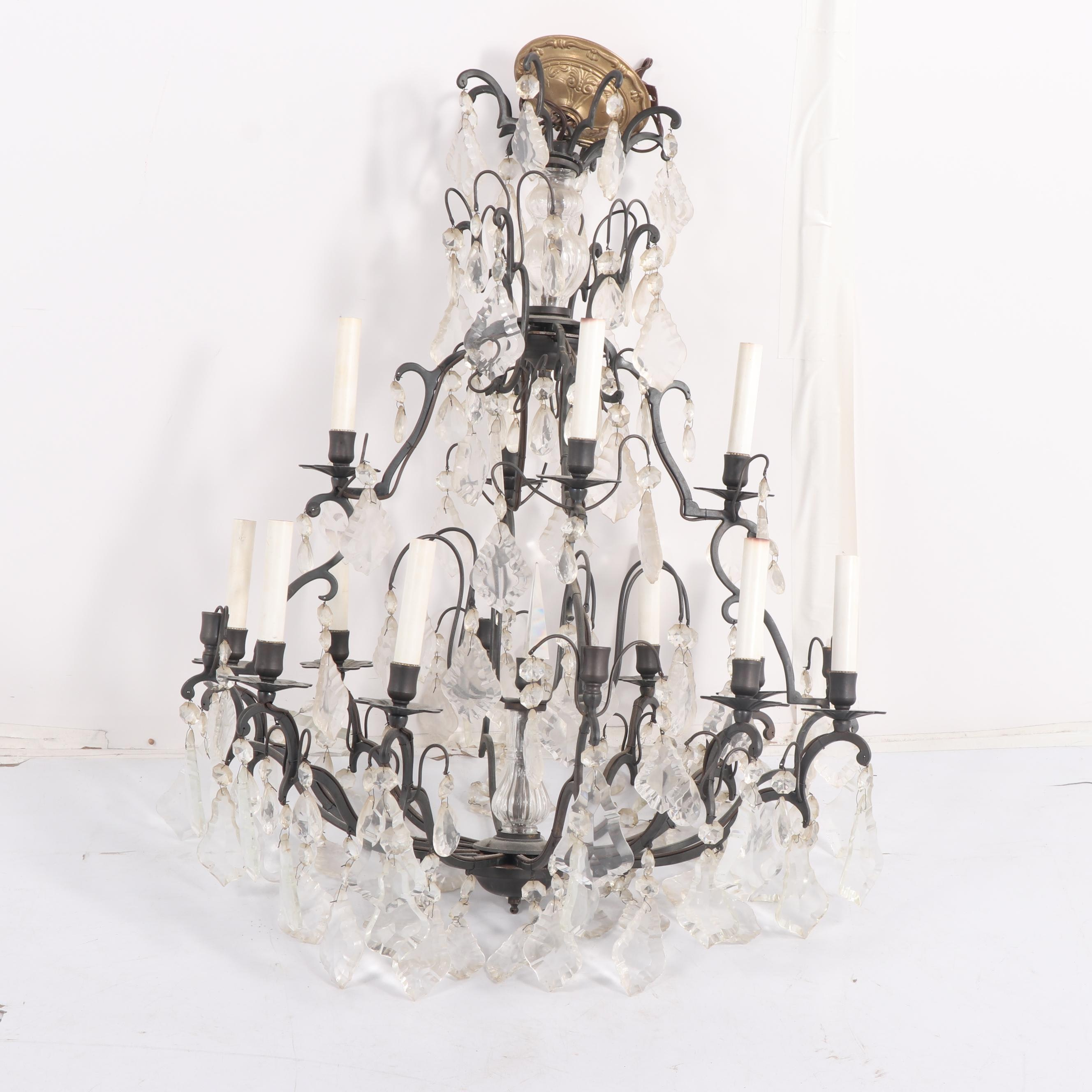 Wrought Iron and Glass Prism Ten-Candlelight Chandelier