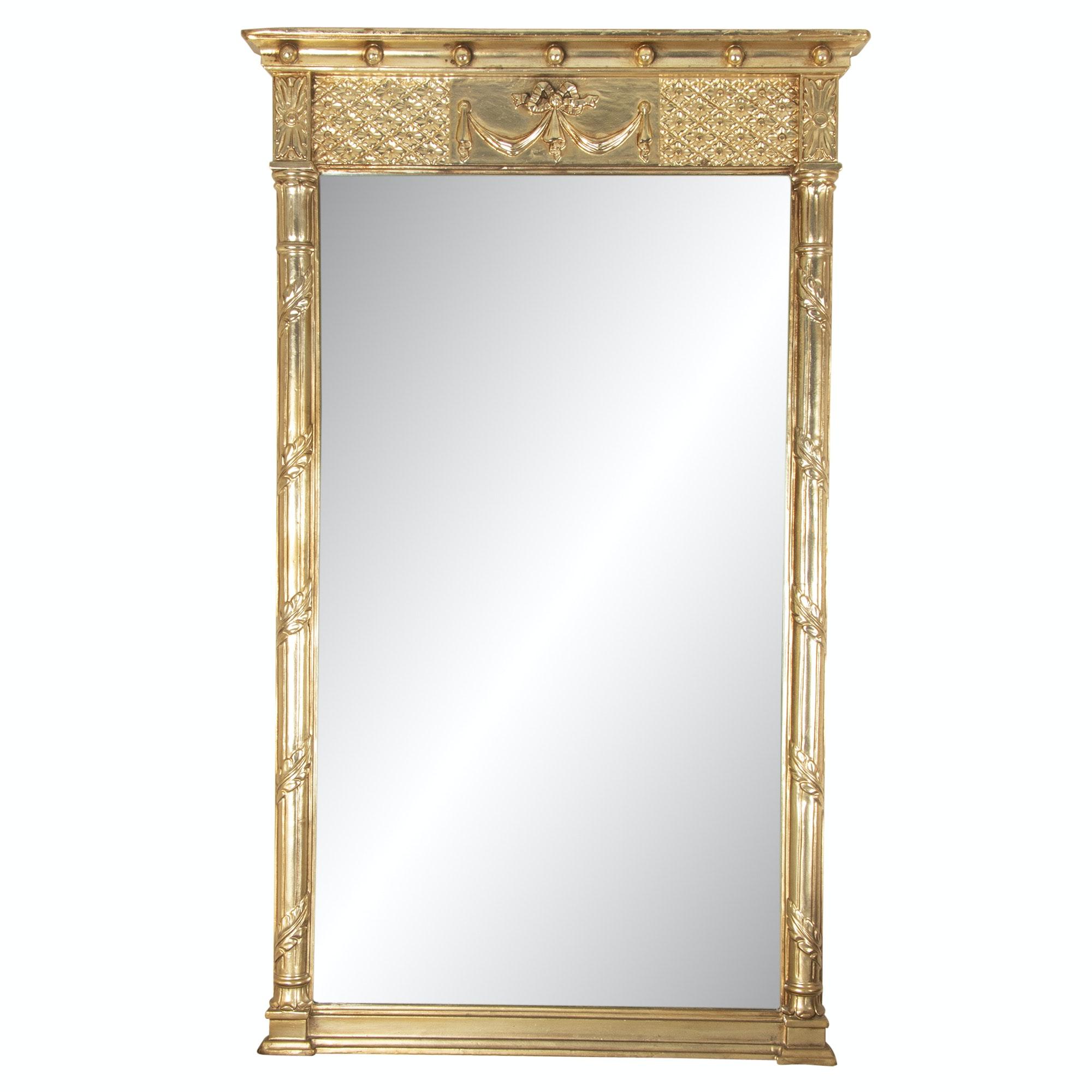 Victorian Style Gilt Gesso on Wood Pier Mirror