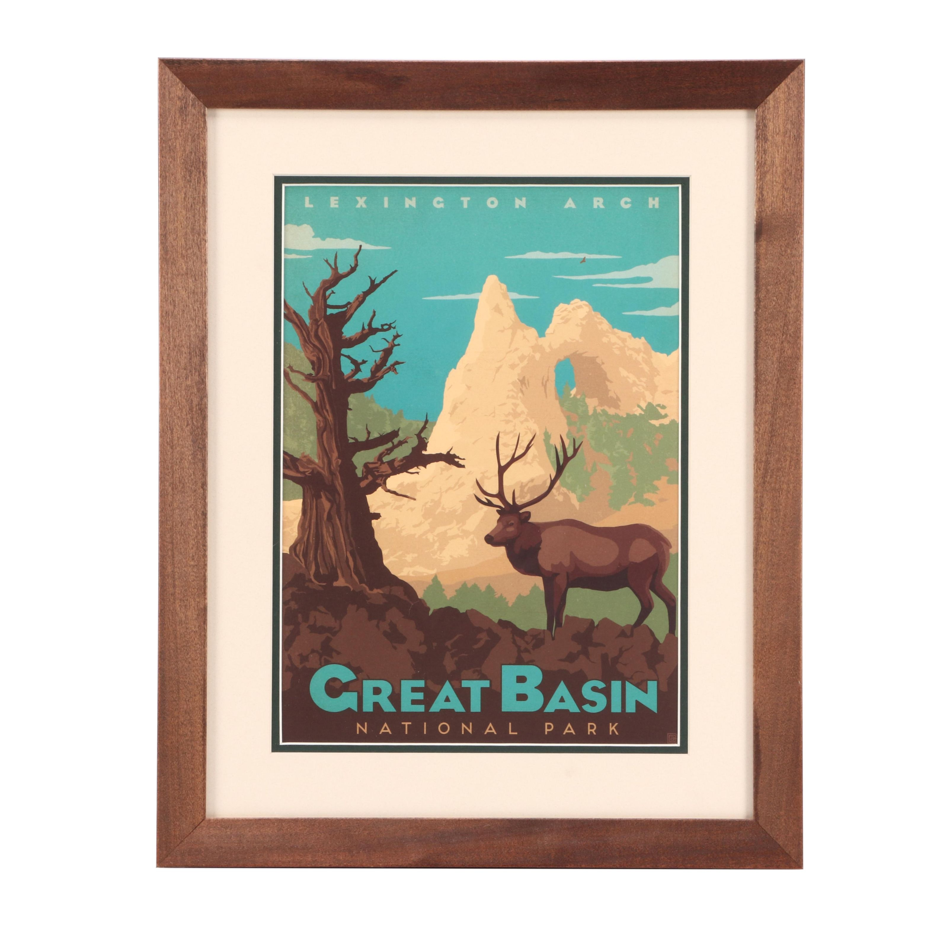 Vintage-Style Offset Lithograph Great Basin National Park Travel Poster