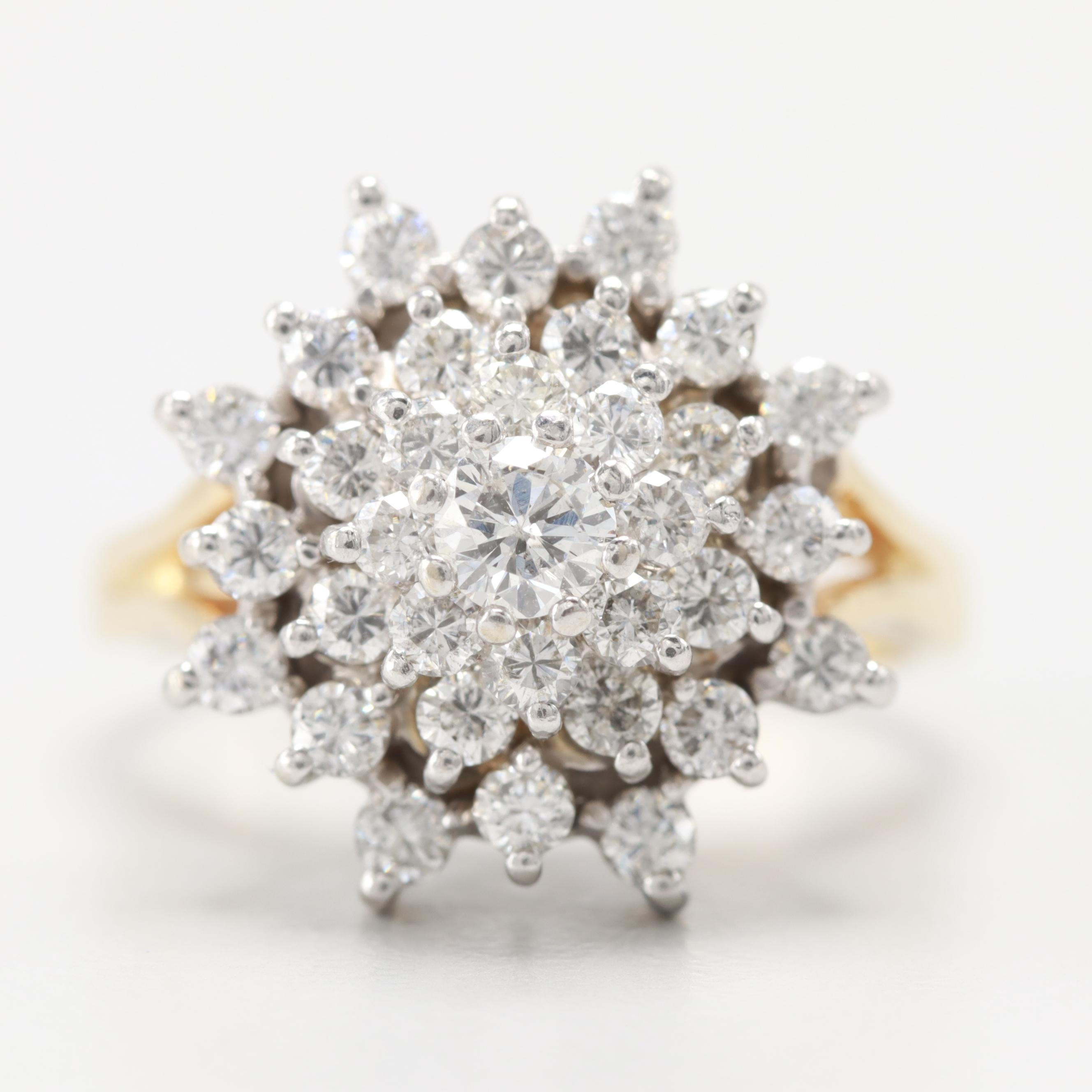 Vintage 14K Yellow and White Gold 1.30 CTW Diamond Cluster Ring