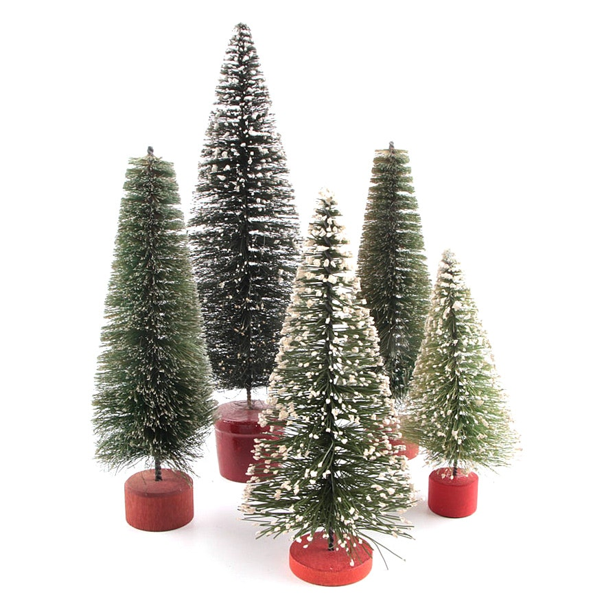 Collection of Five Vintage Flocked Bottle Brush Christmas Trees