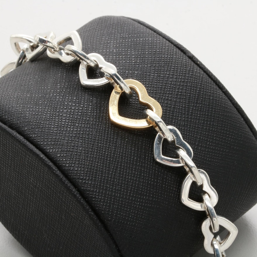 Tiffany & Co  Sterling Silver and 18K Yellow Gold Heart Chain Link Bracelet