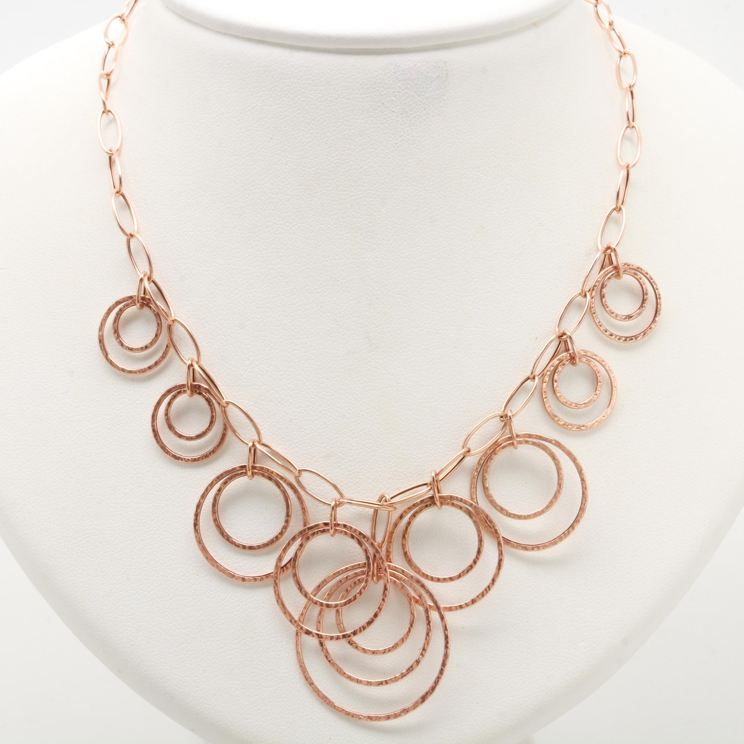 14K Rose Gold Fancy Chain Link Necklace