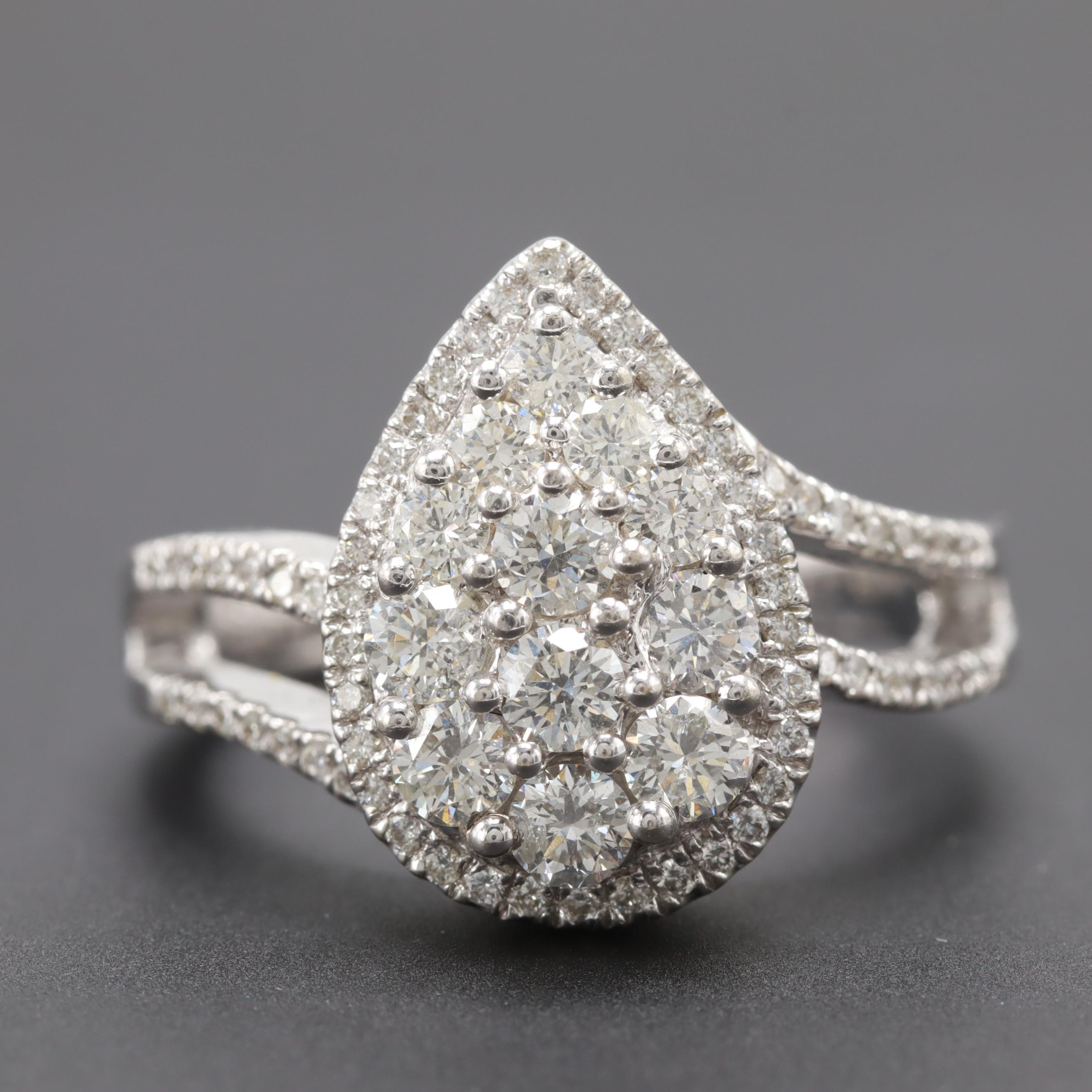 14K White Gold 1.27 CTW Diamond Ring