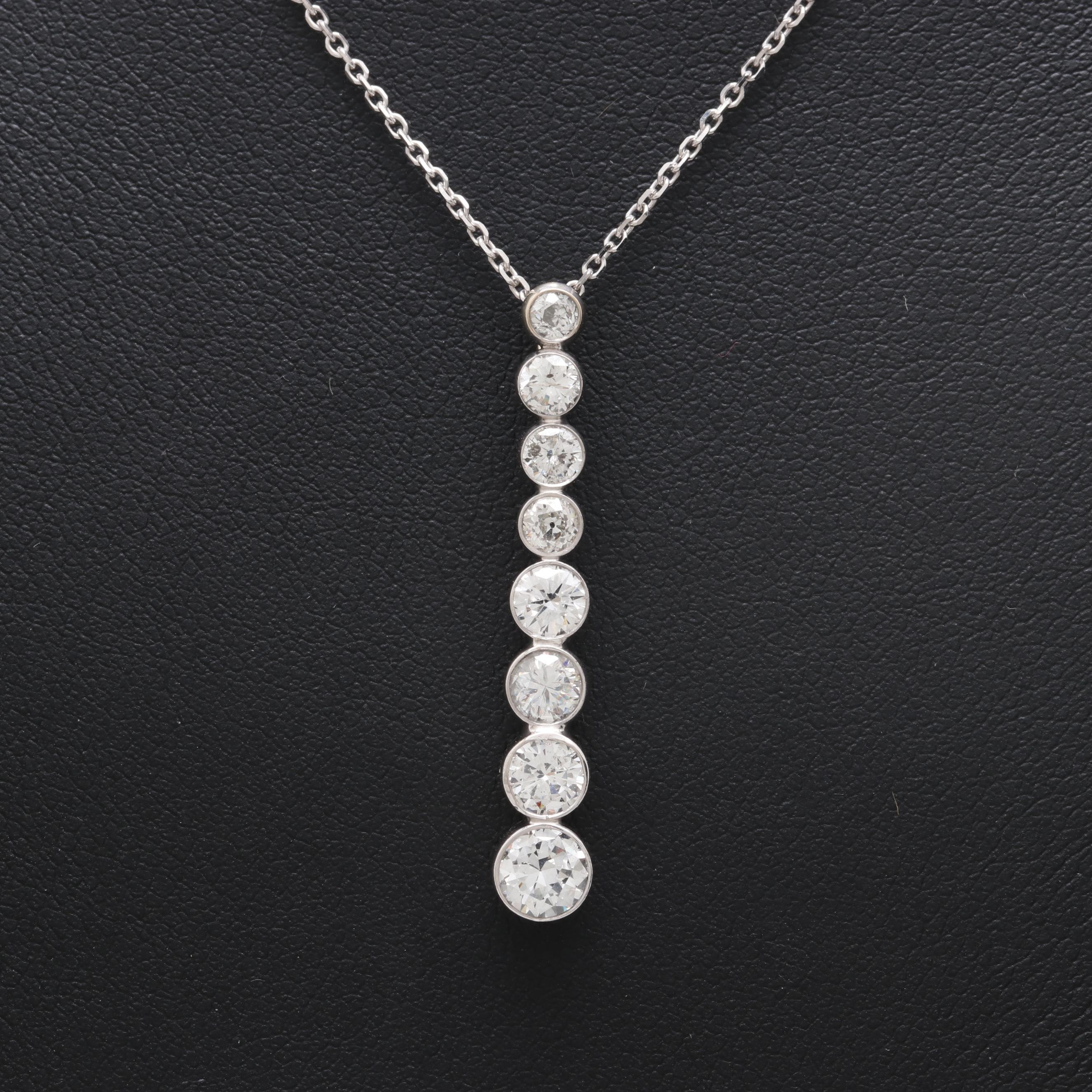 14K White Gold 1.48 CTW Diamond Journey Pendant Necklace