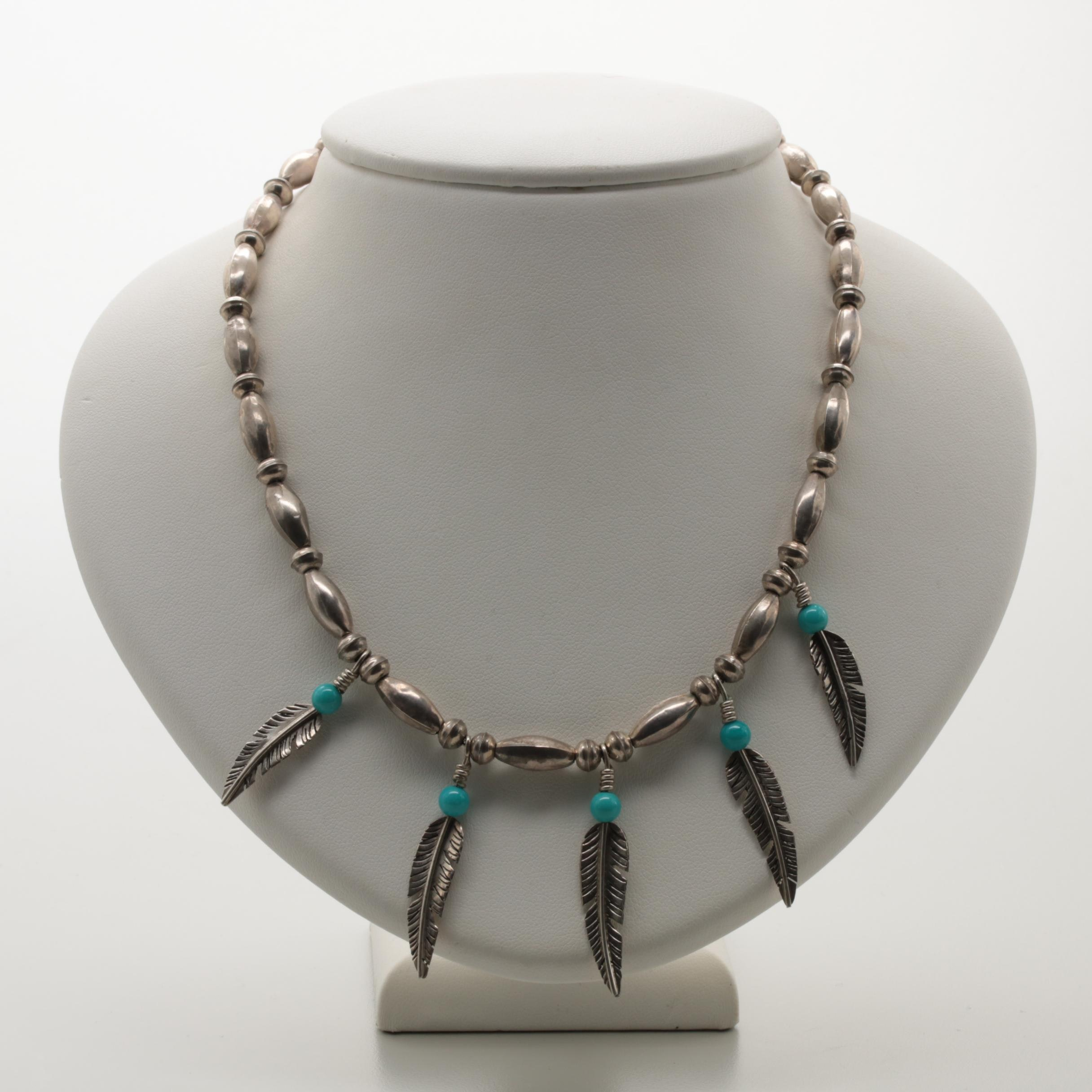 Sterling Silver Turquoise and Feather Motif Necklace