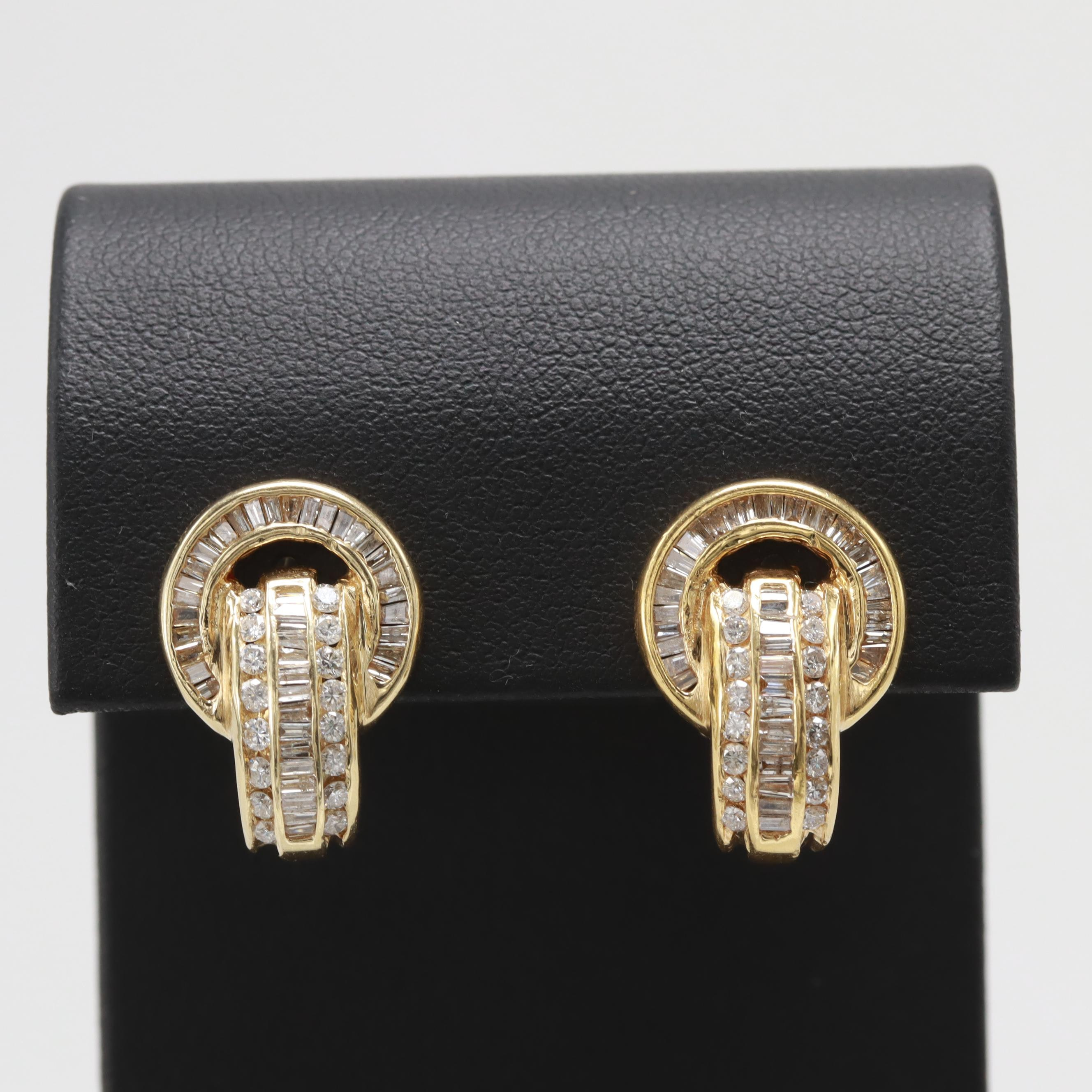 18K Yellow Gold 1.90 CTW Diamond Earrings