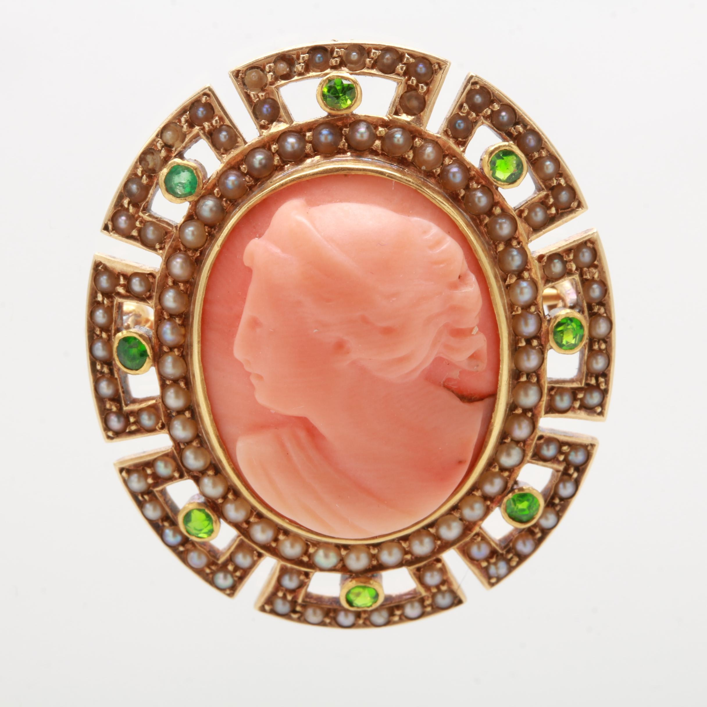14K Yellow Gold Coral, Tsavorite Garnet, Emerald, and Cultured Pearl Brooch