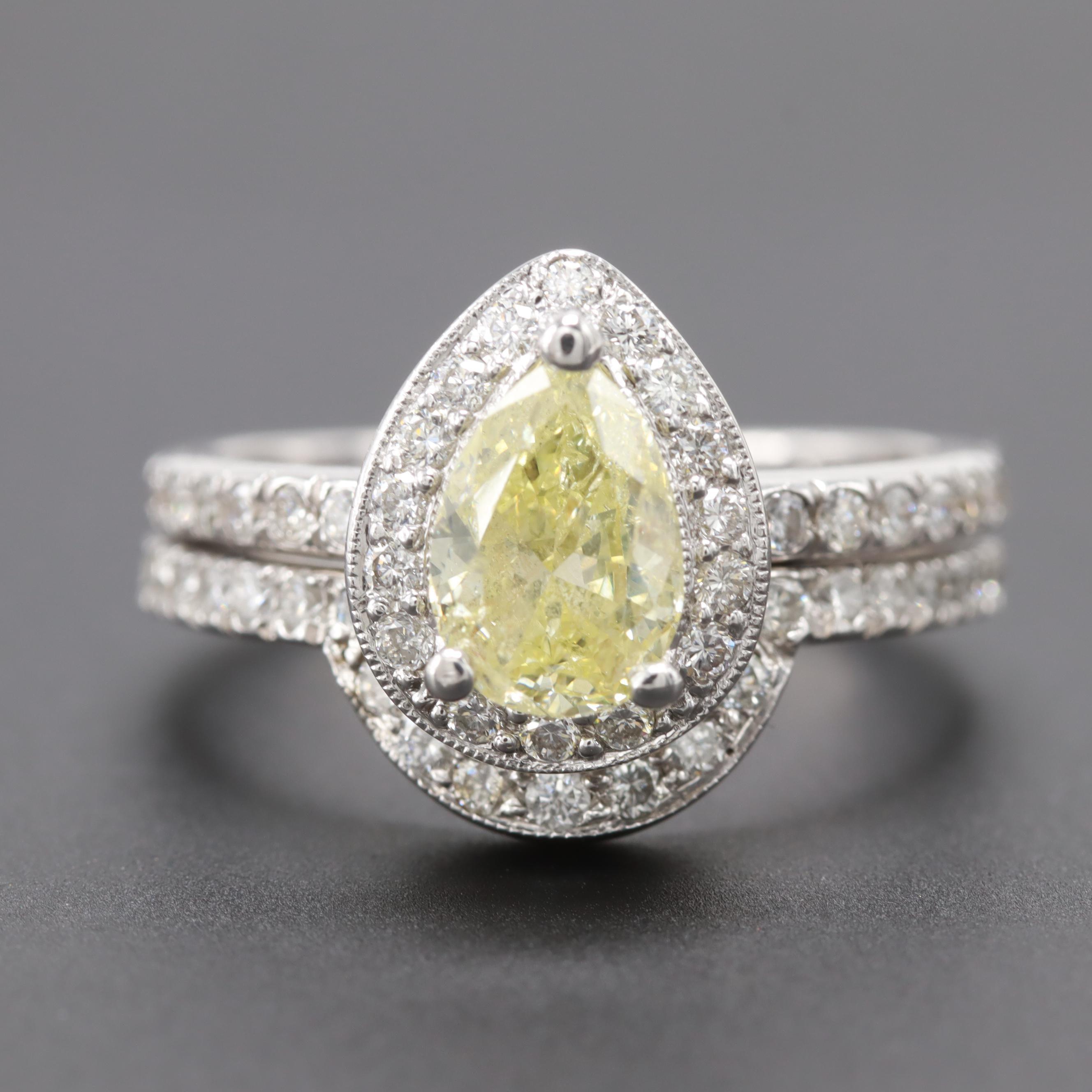 14K White Gold 1.70 CTW Diamond Ring Set With 0.95 CT Yellow Pear Diamond