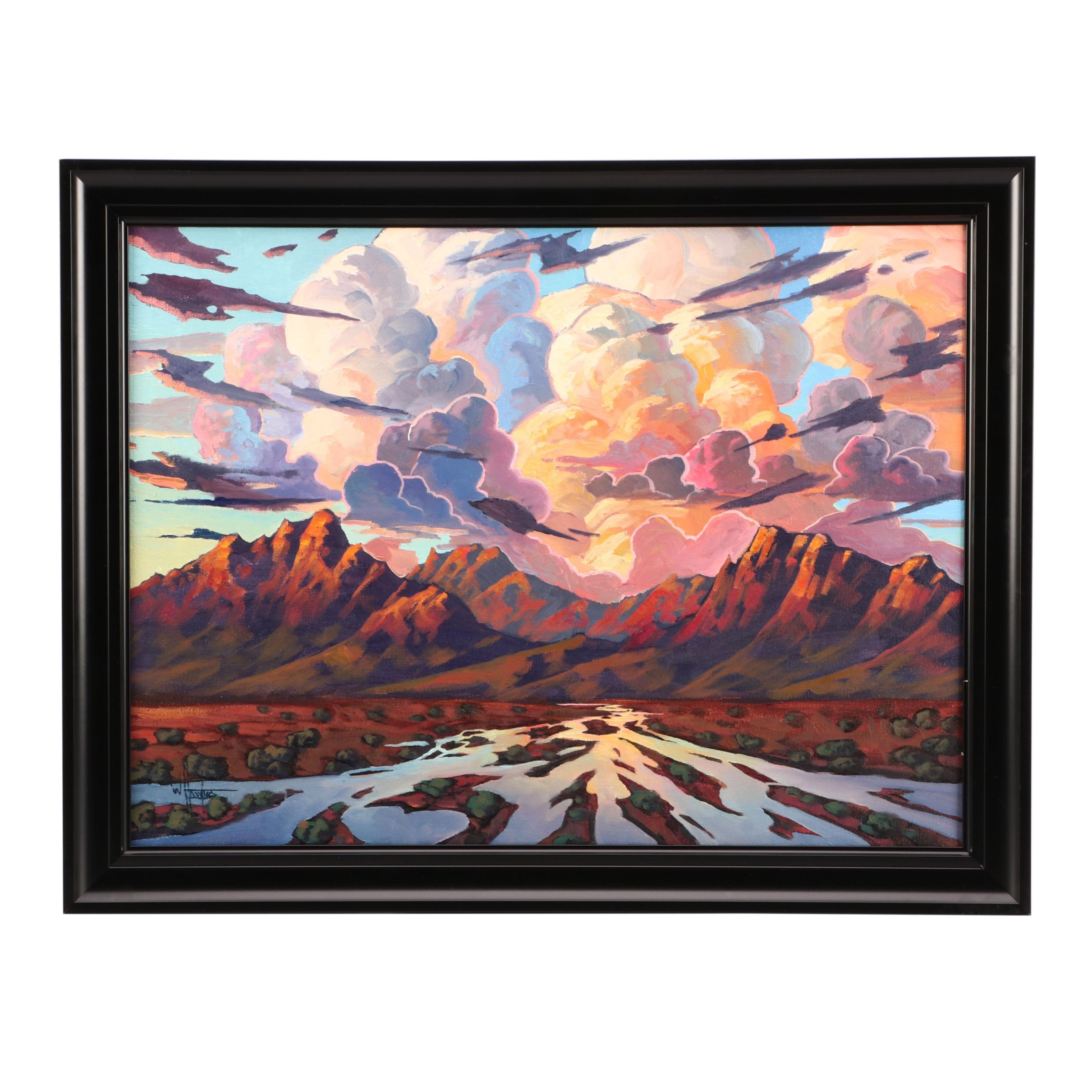 "William Hawkins Large Oil Painting ""The Desert Will Live"""