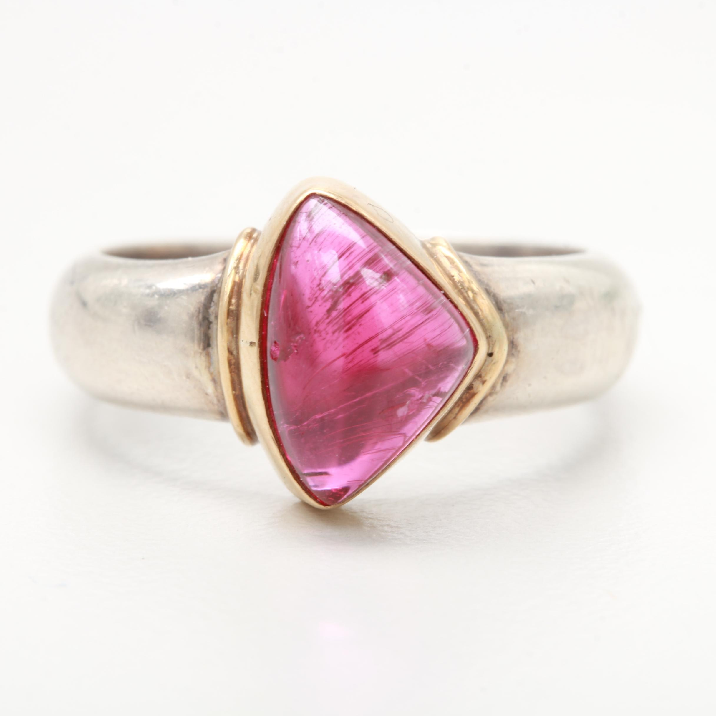 Sterling Silver Tourmaline Ring with 22K Yellow Gold Accents