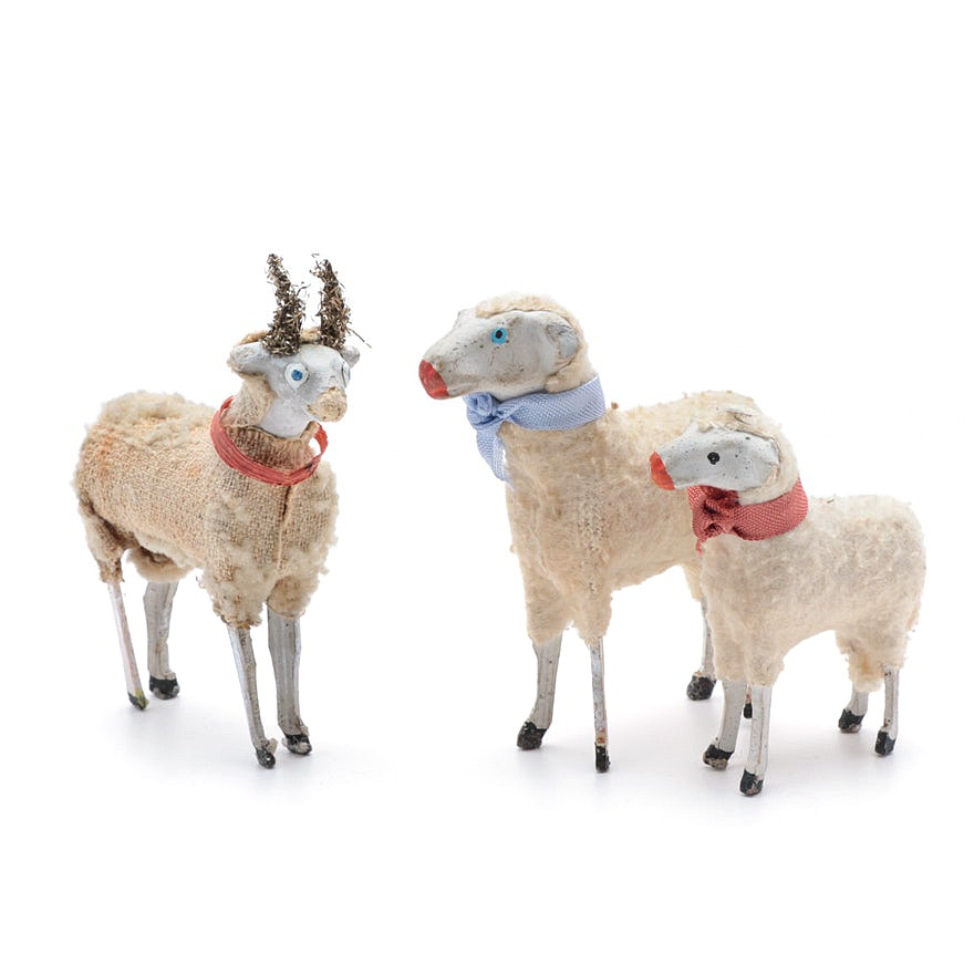 Three Antique Putz Sheep