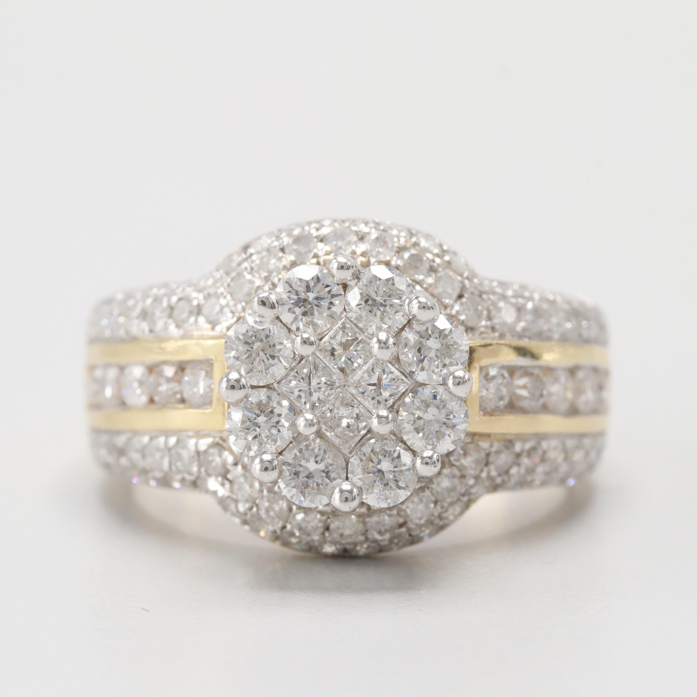 14K Yellow and White Gold 1.58 CTW Diamond Ring