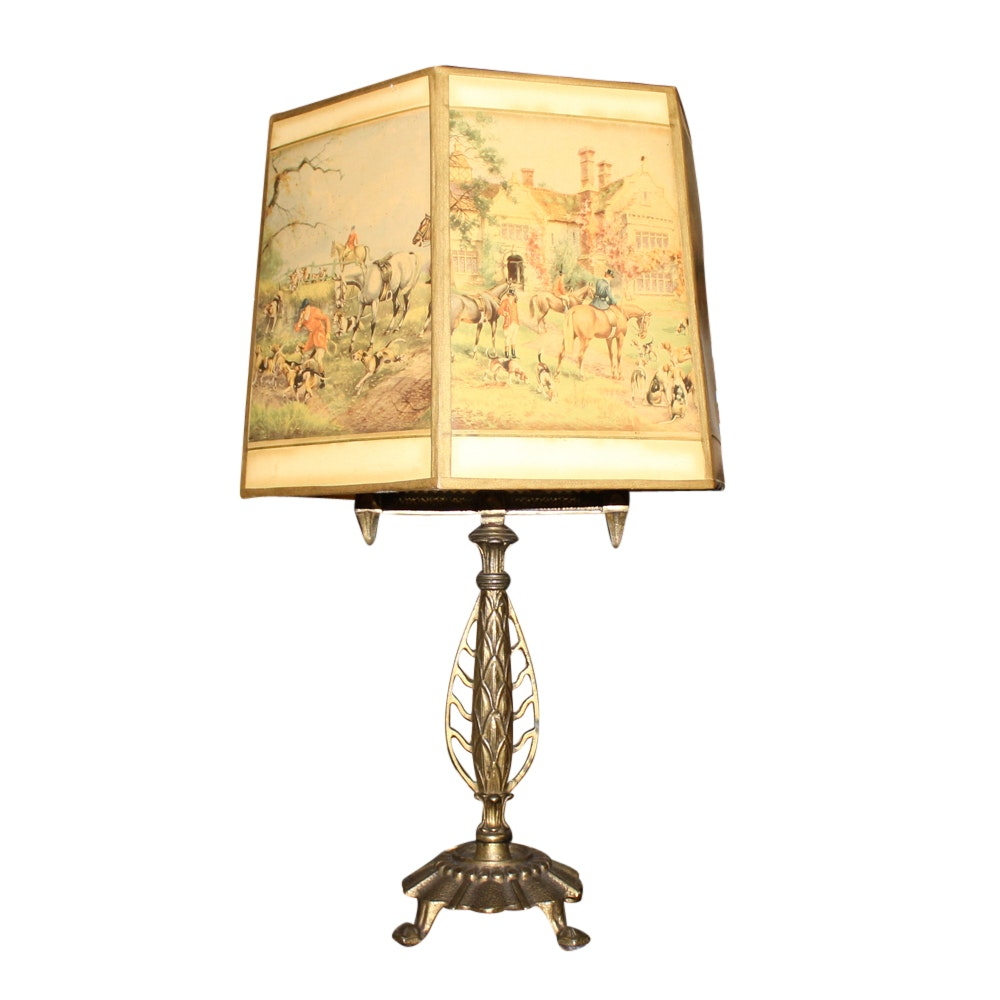 Cast Metal Table Lamp with Fox Hunt Print Shade