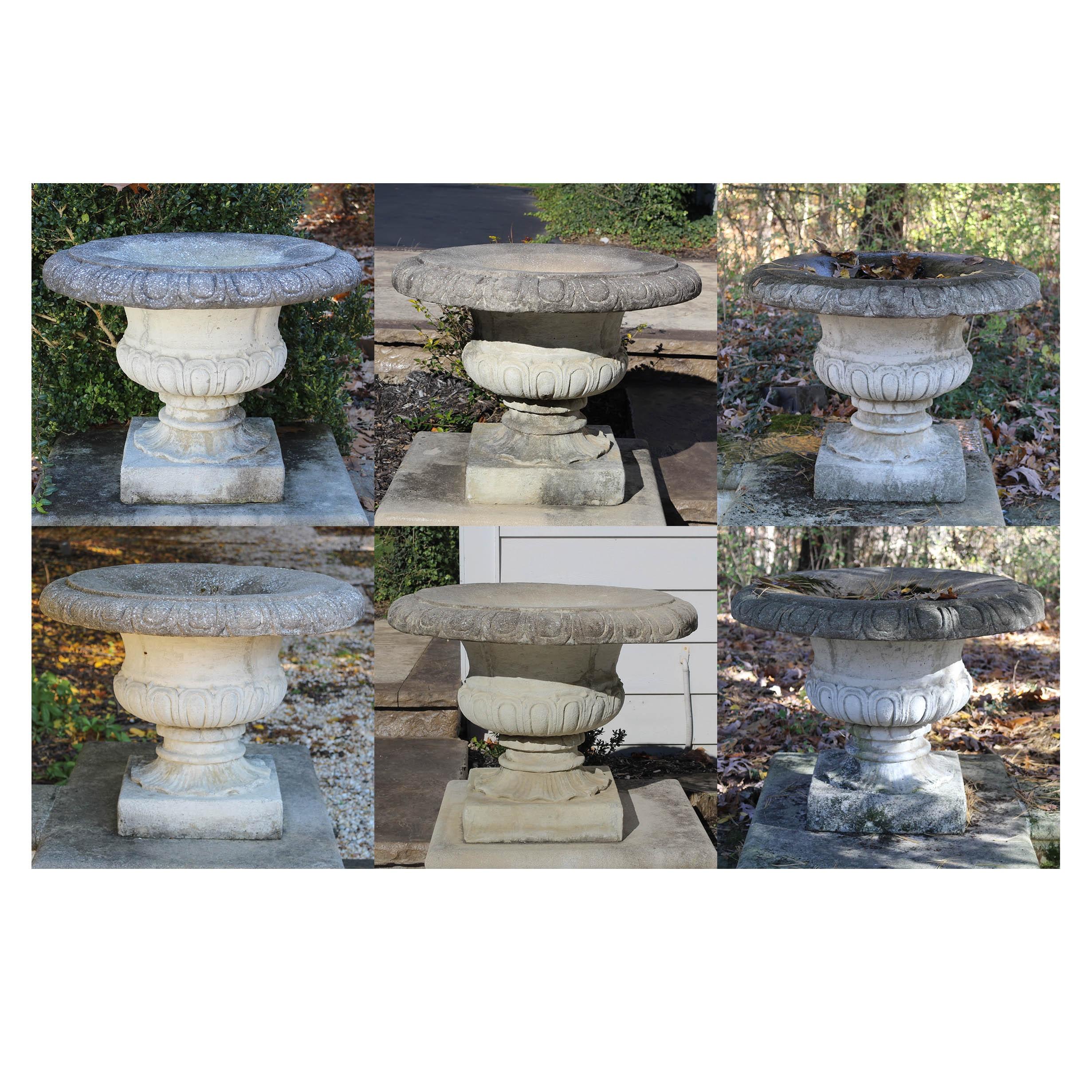 Six Classical Revival Concrete Planters