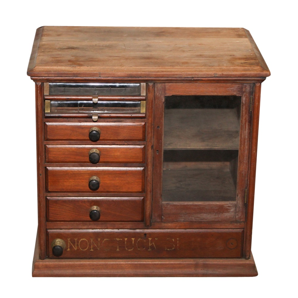 """Nonotuck Silk"" Walnut Counter Display Cabinet, Late 19th Century"