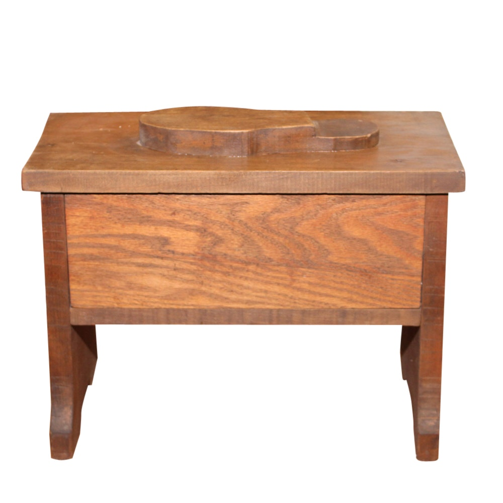 Oak Shoe Shine Stool, 20th Century