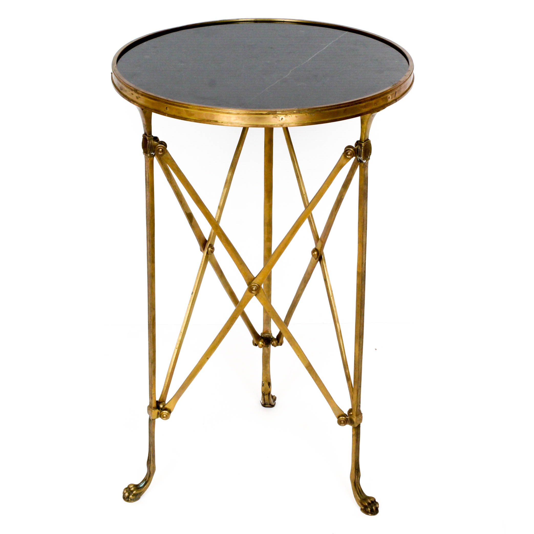 Empire Style Black Marble and Brass Accent Table by Global Views