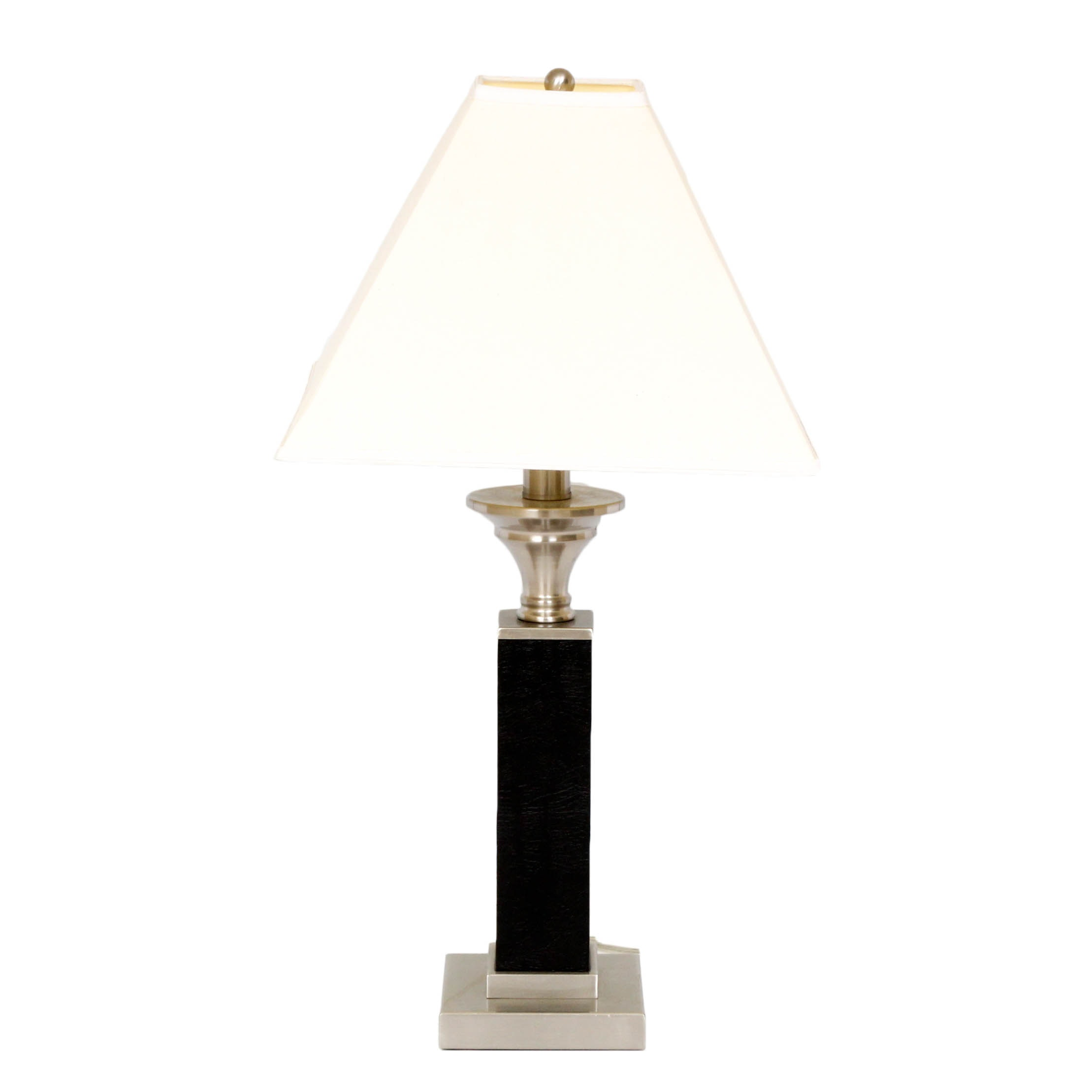 Contemporary Metal and Faux Leather Table Lamp