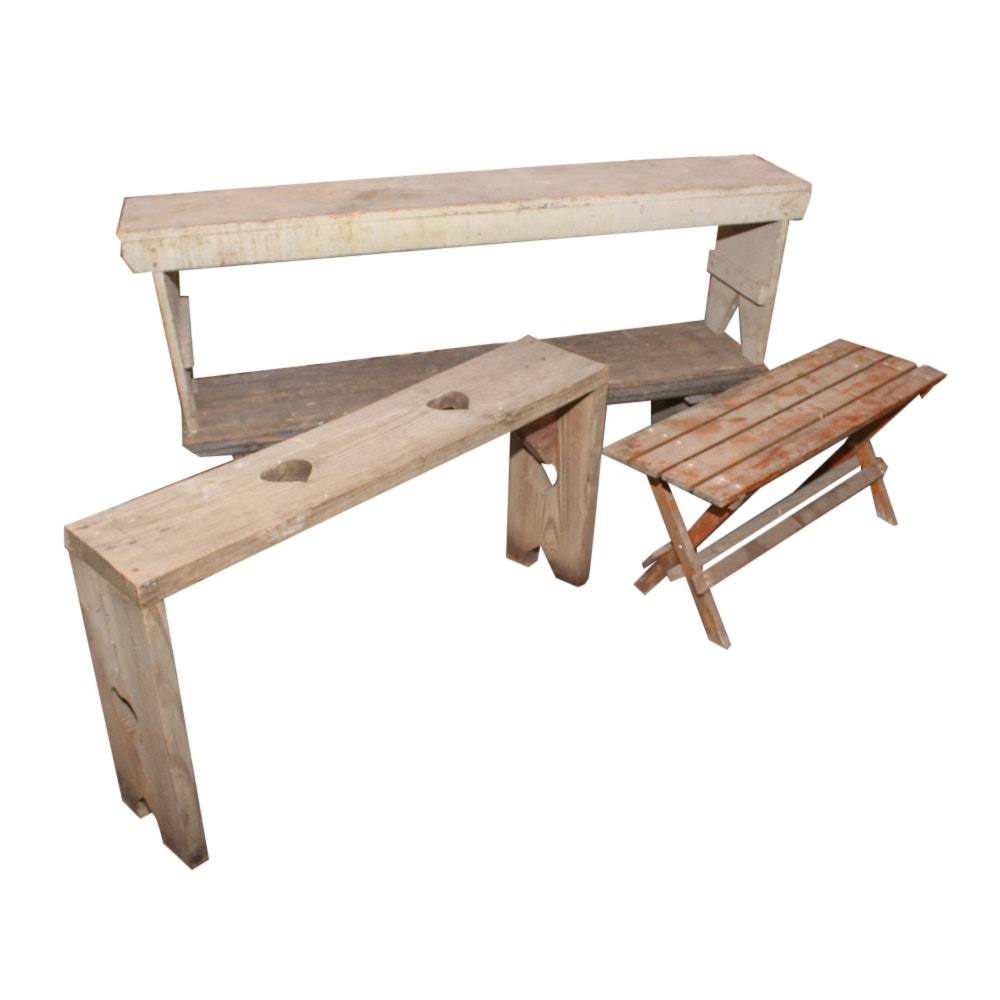 Four Wood Benches, 20th Century