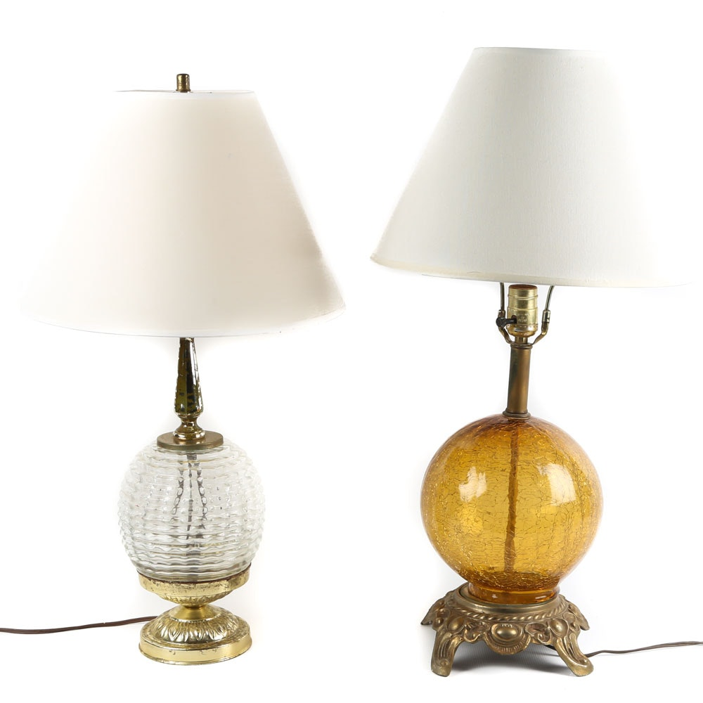 Mid-Century Pressed and Crackle Glass Table Lamps