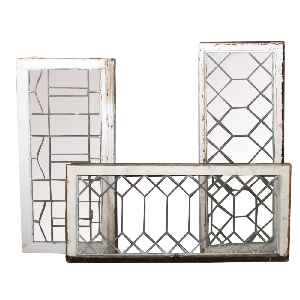 Three Vintage Leaded Glass Windows