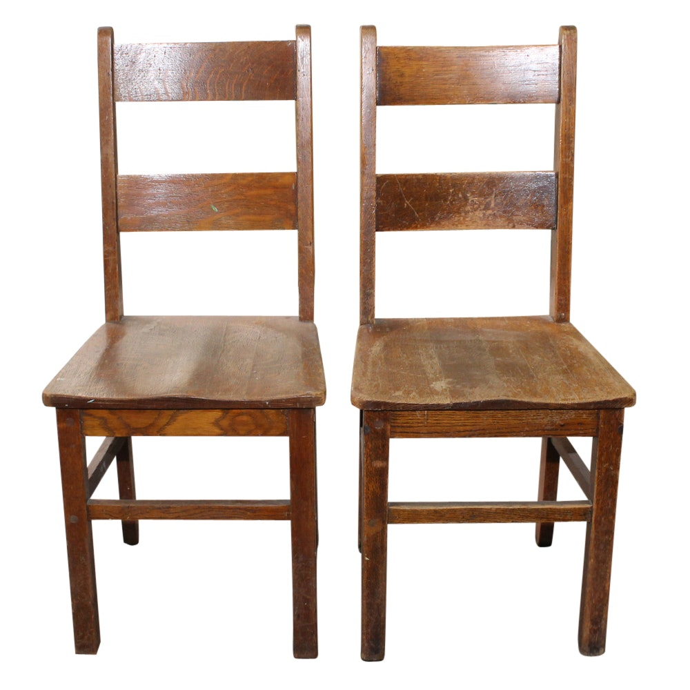 Two Oak Side Chairs, Early 20th Century