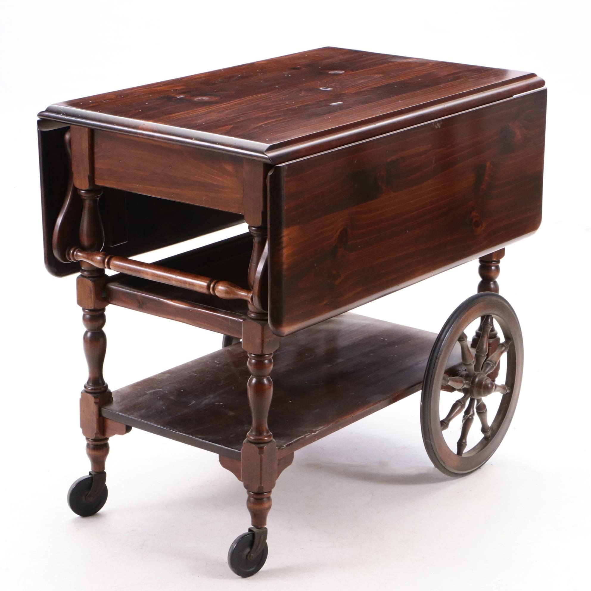 Federal Style Mahogany Bar Cart with Drop Leaves, by Ethan Allen, Circa 1970