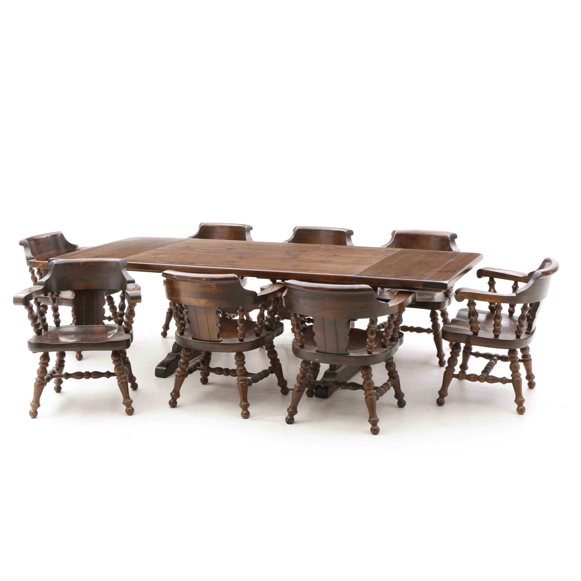 Pine Trestle Dining Table and Chairs , Mid/Late 20th Century