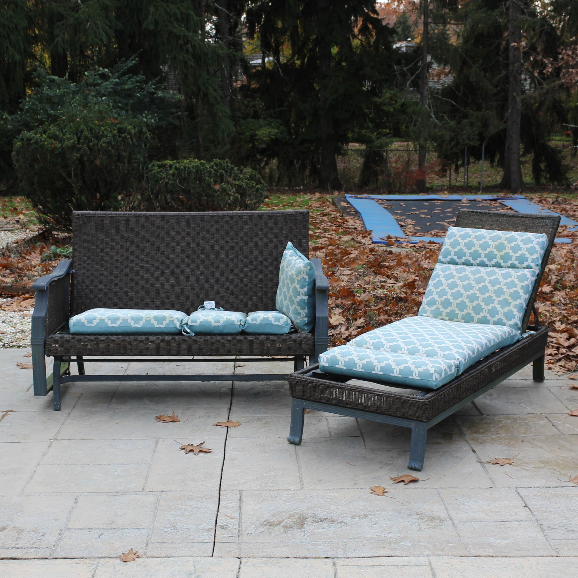 Hampton Bay All-Weather Wicker Glider Settee and Chaise Lounge